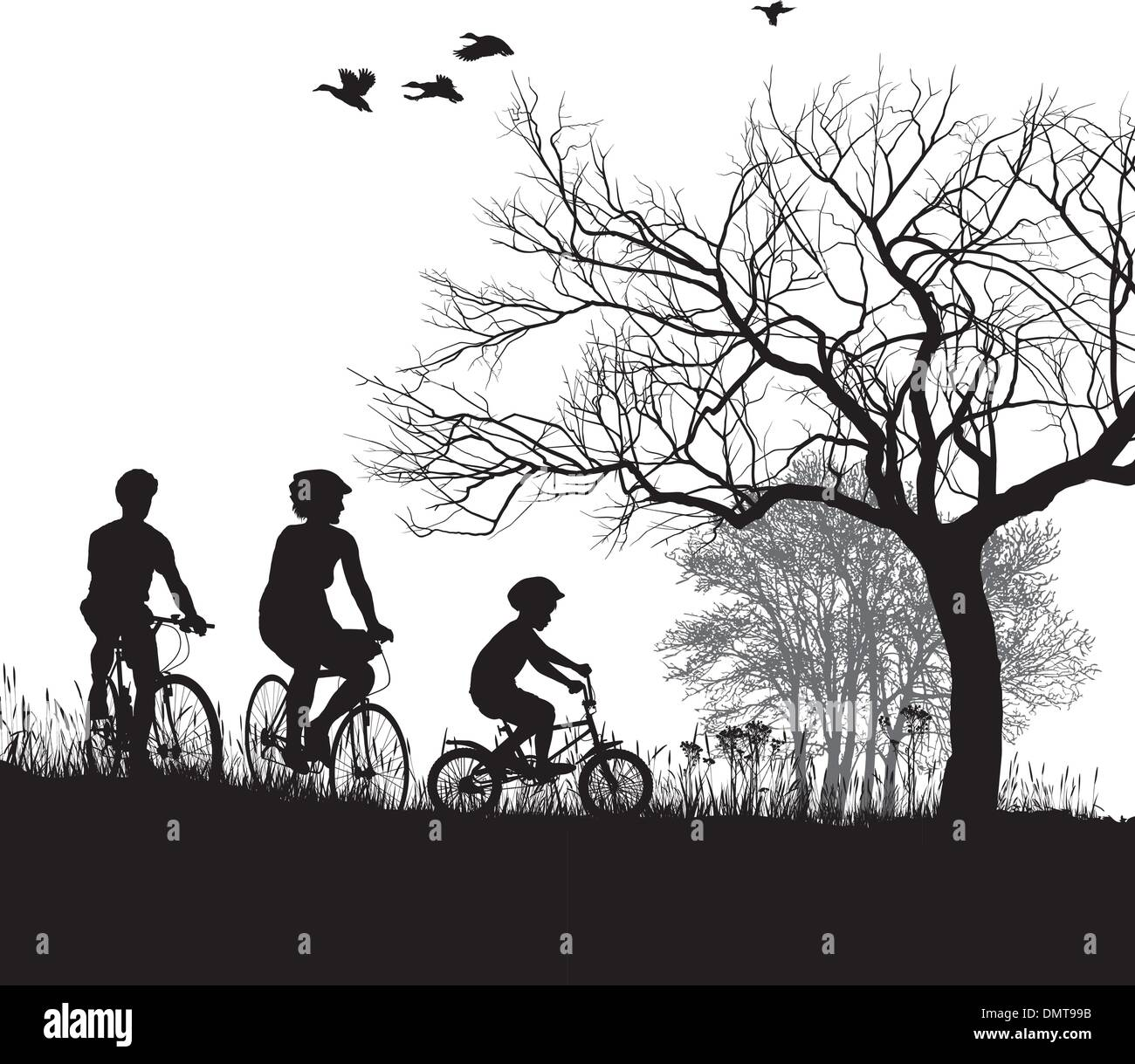 Family cycling in the countryside - Stock Vector