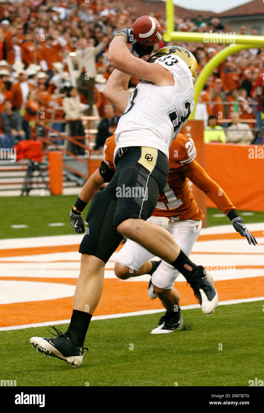 Colorado's Patrick Devenny hauls in a touchdown pass in front of Texas safety Blake Gideon for the first score of the game. (Credit Image: © Joe Nicola/Southcreek Global/ZUMApress.com) - Stock Image