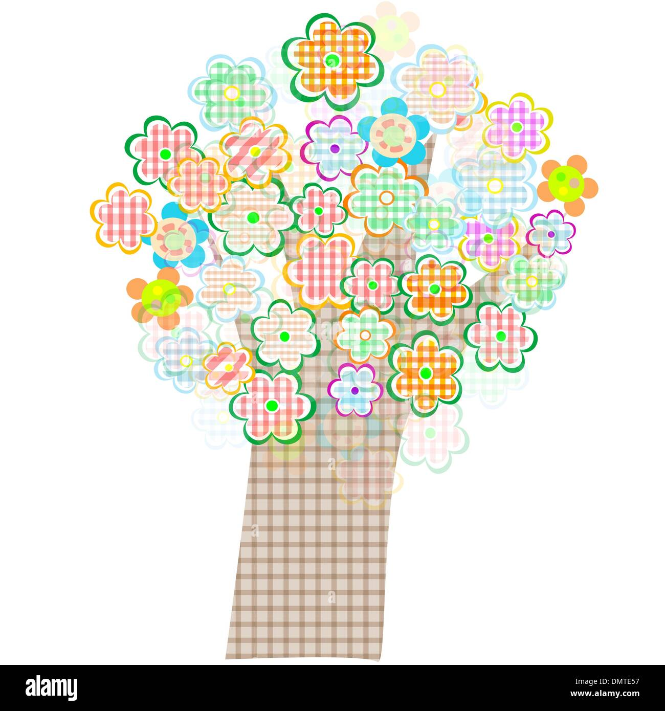 bird and tree with flowers and leaves. Vector - Stock Image
