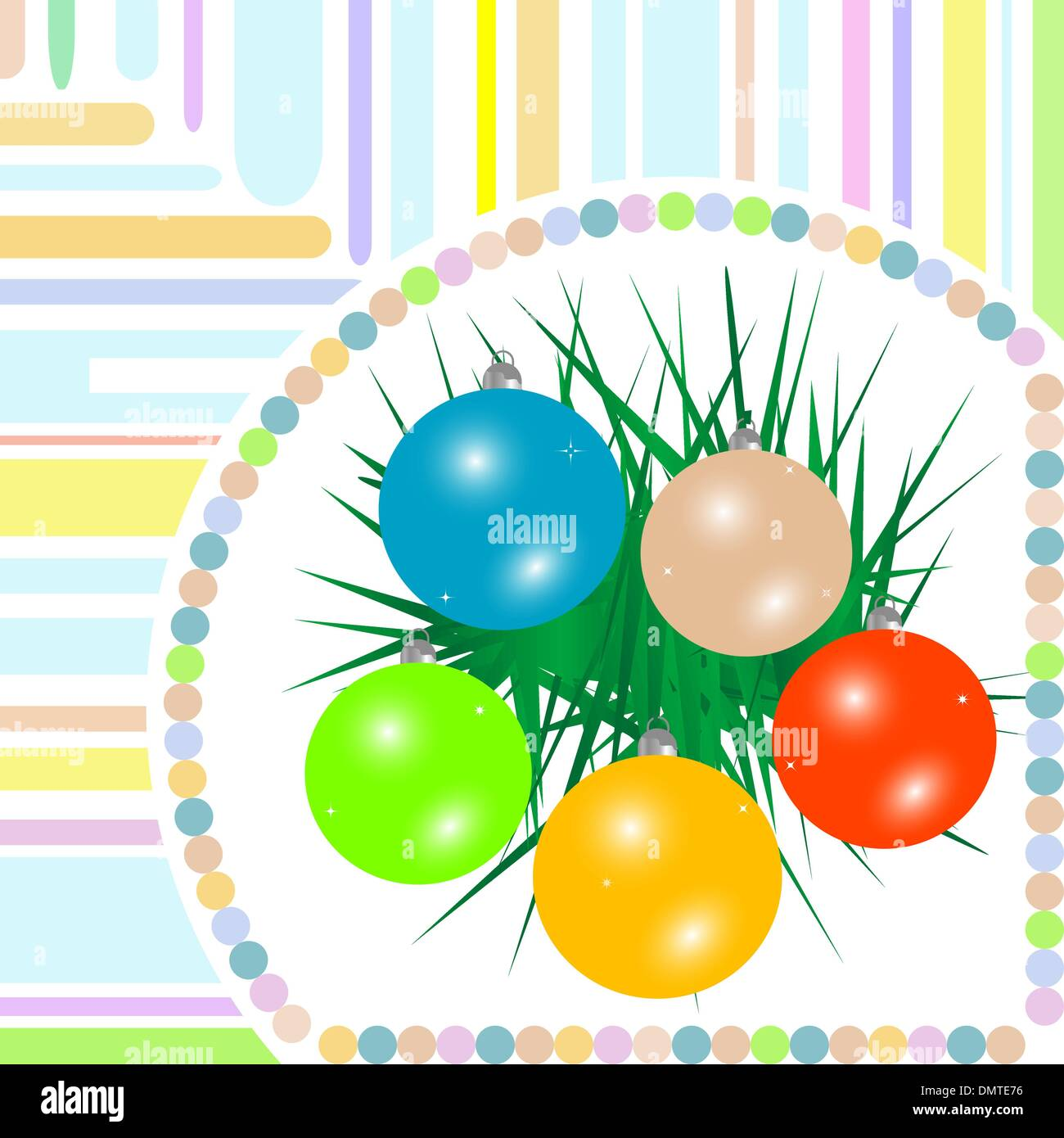 Christmas ball on green spruce branch - Stock Vector