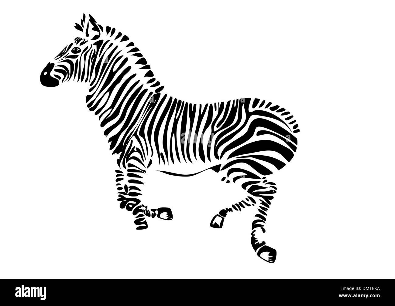 running zebra - vector Stock Vector