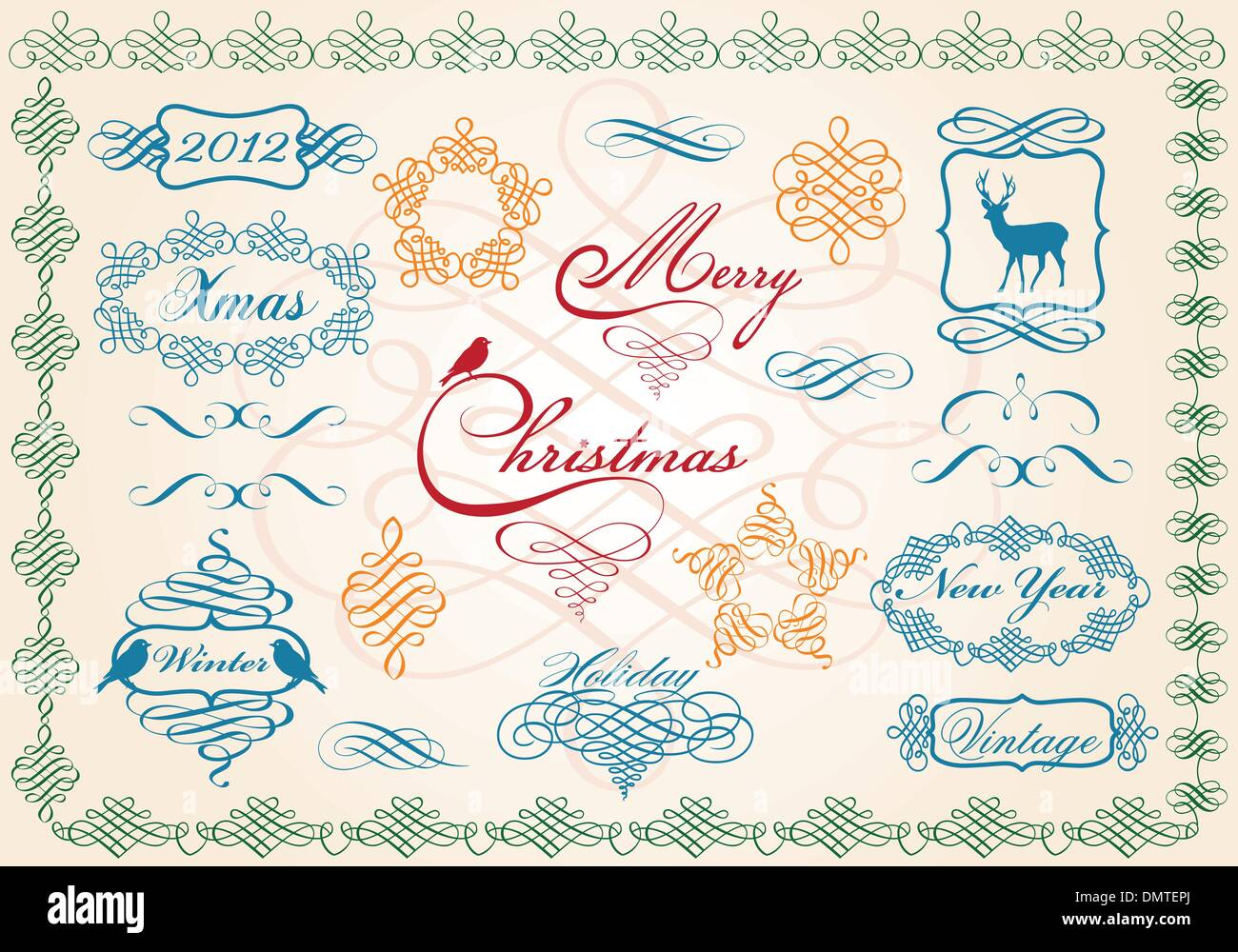 christmas frames and borders, vector - Stock Image