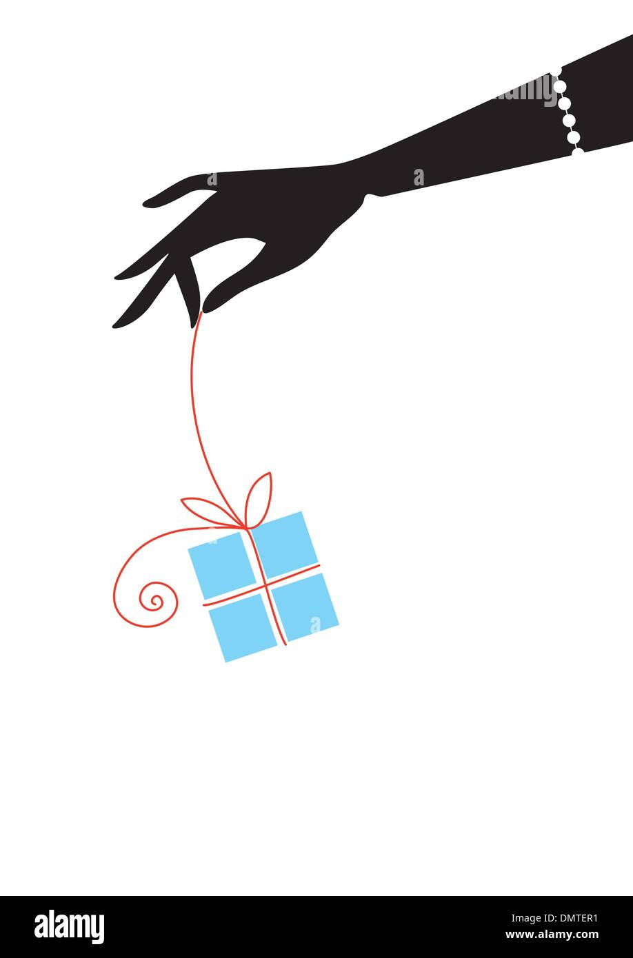 blue gift box with red bow, vector - Stock Image