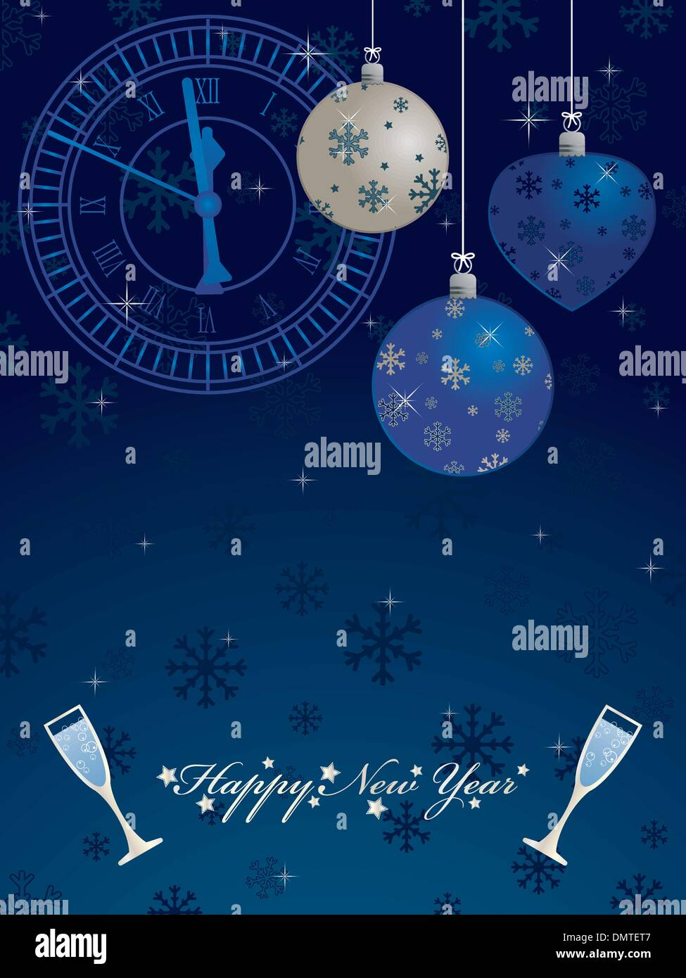 blue new years background - Stock Image