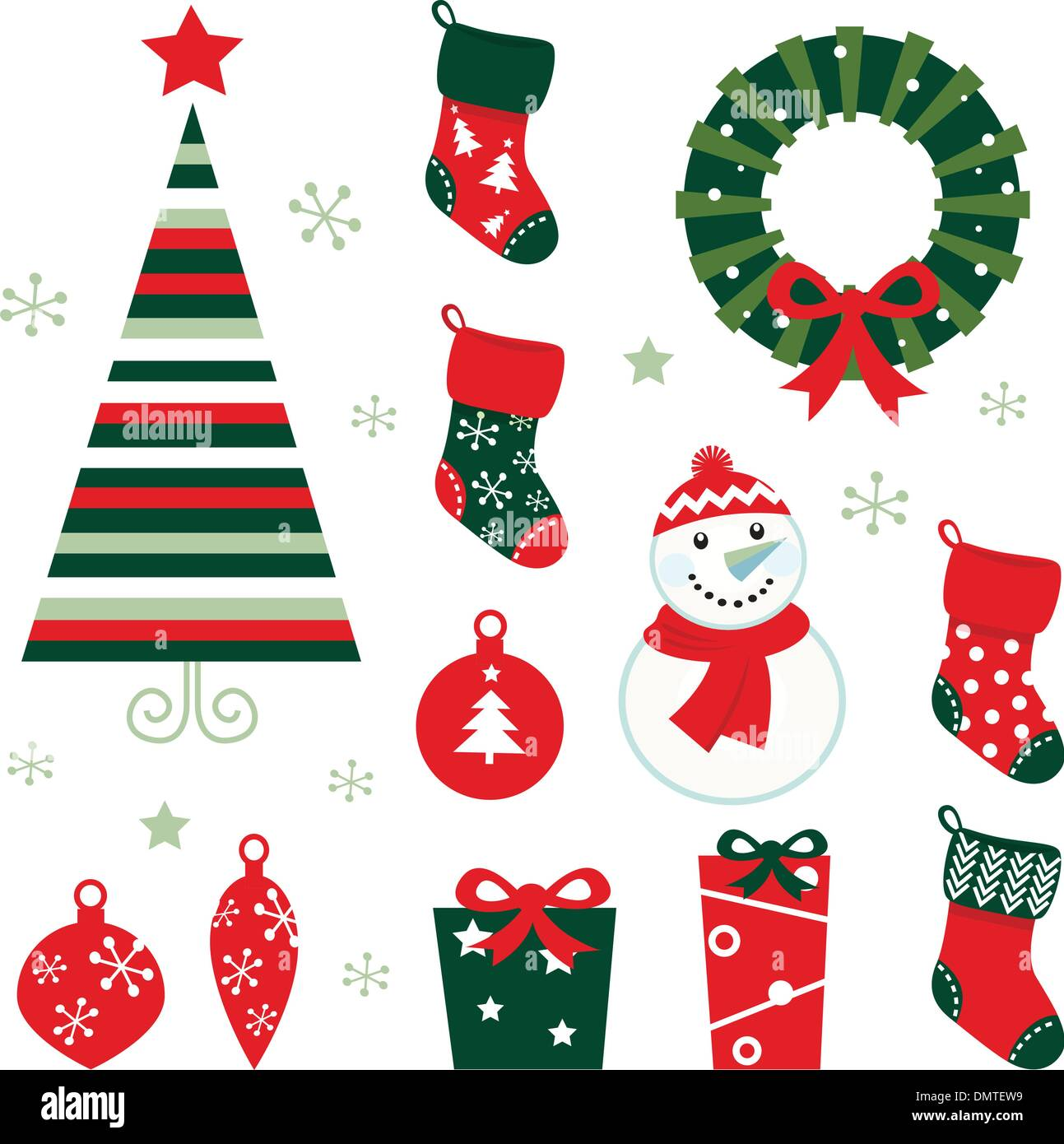 Christmas Winter Design Elements Isolated On White Red Green Stock Vector Image Art Alamy