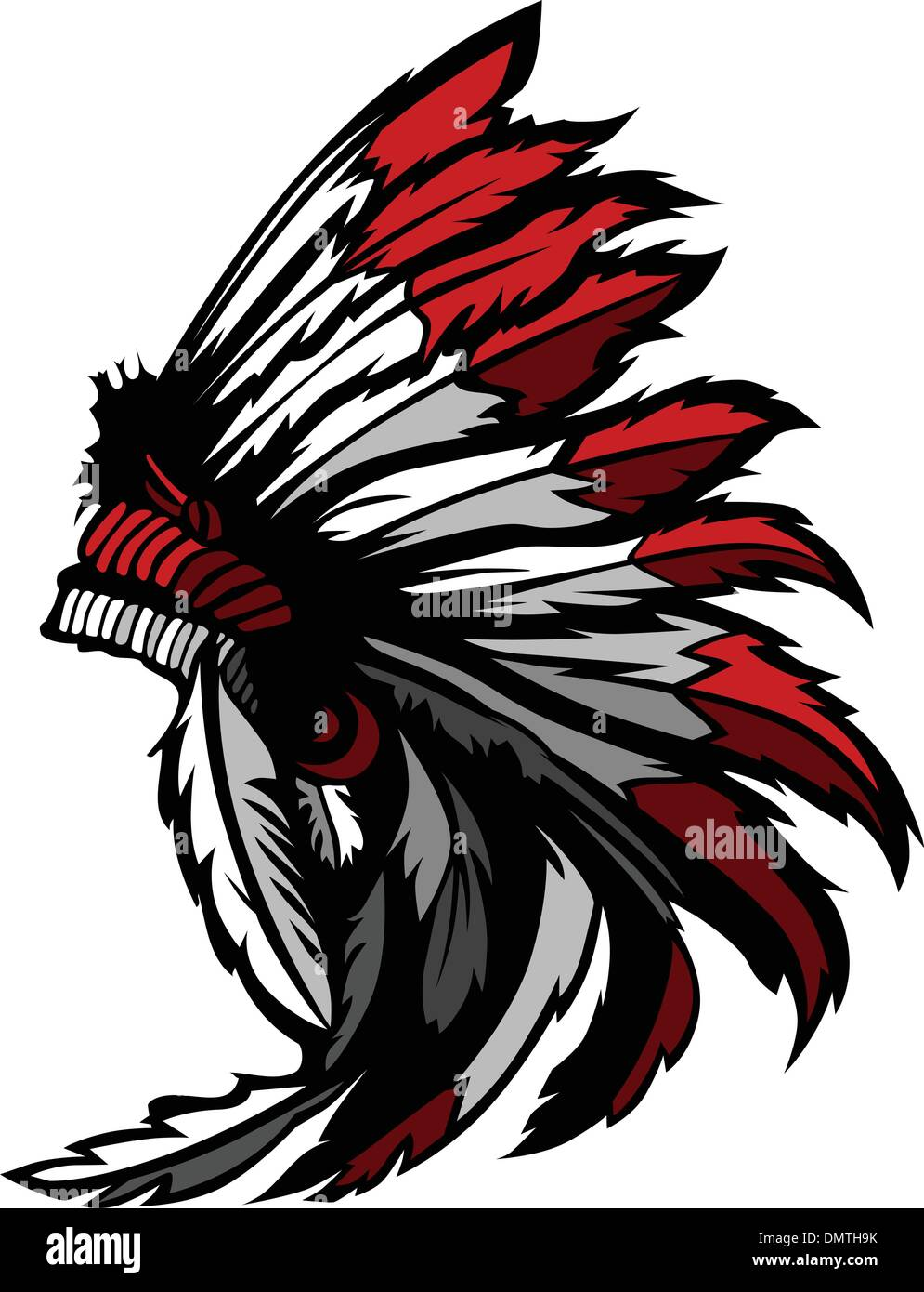 American Native Indian Feather Headdress Mascot Vector Graphic - Stock Image