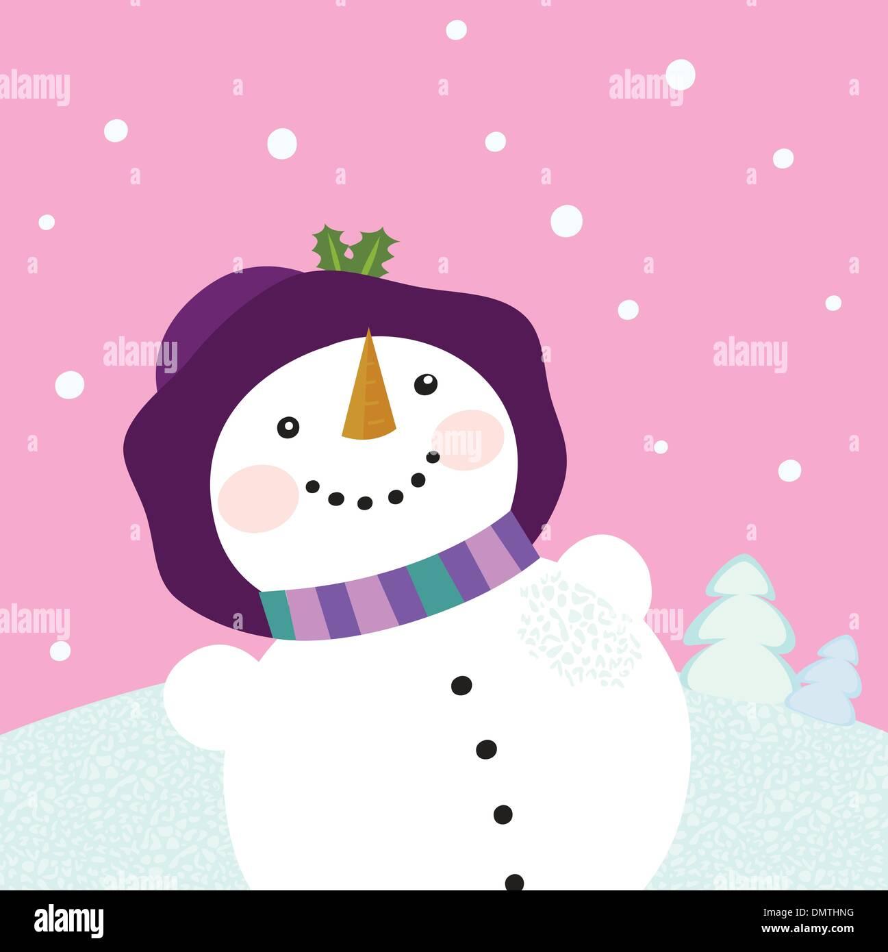 It's snowing - Winter snowman lady - Stock Image