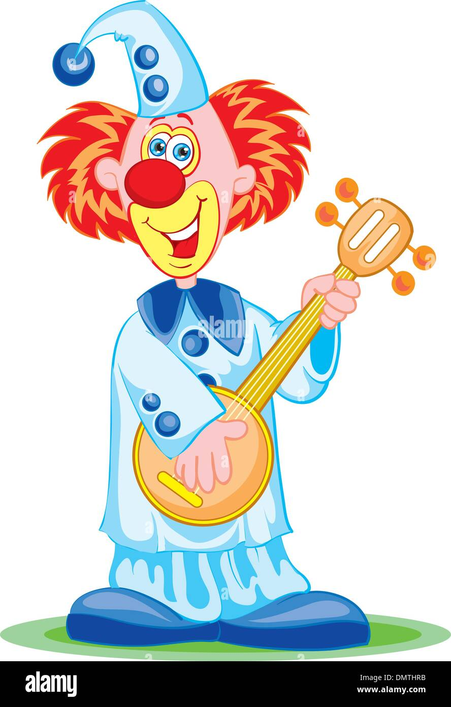 The clown with a mandoline - Stock Vector