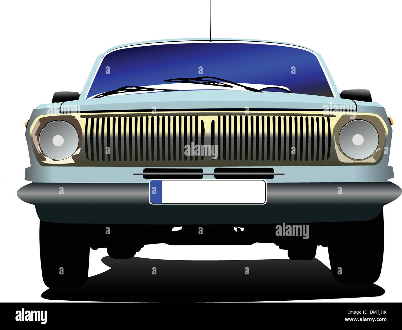 Fifty  years old blue rarity car. Vector illustration - Stock Image