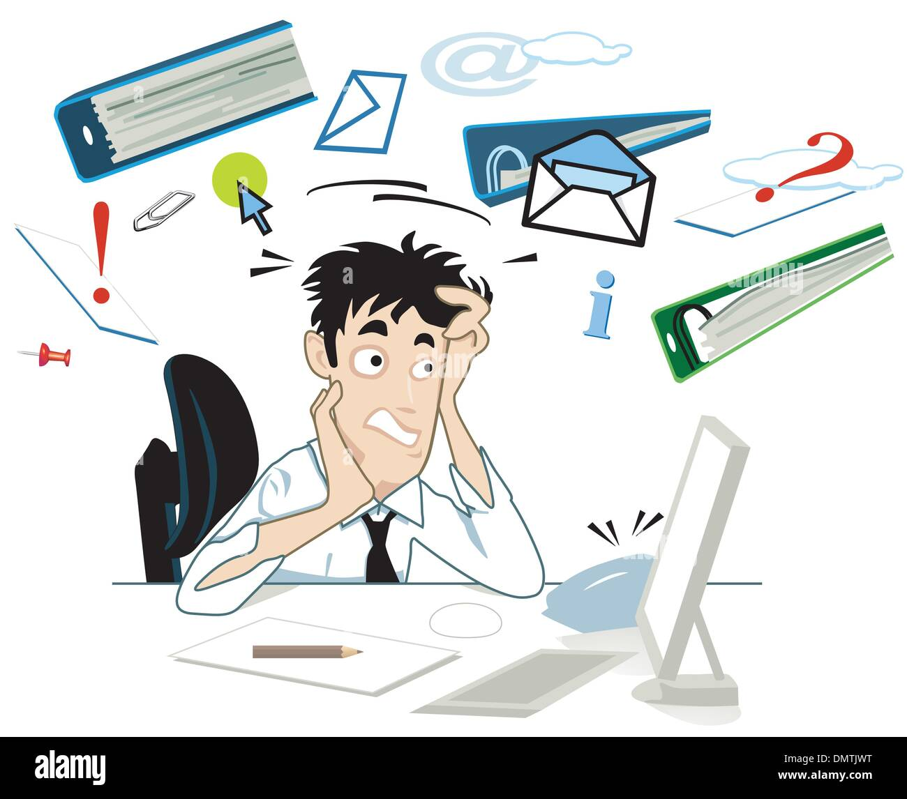 Stress at your desk - Stock Vector