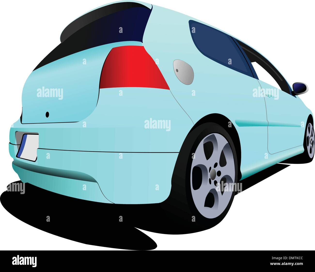3-doors light blue hatchback car on the road. Vector illustratio - Stock Image