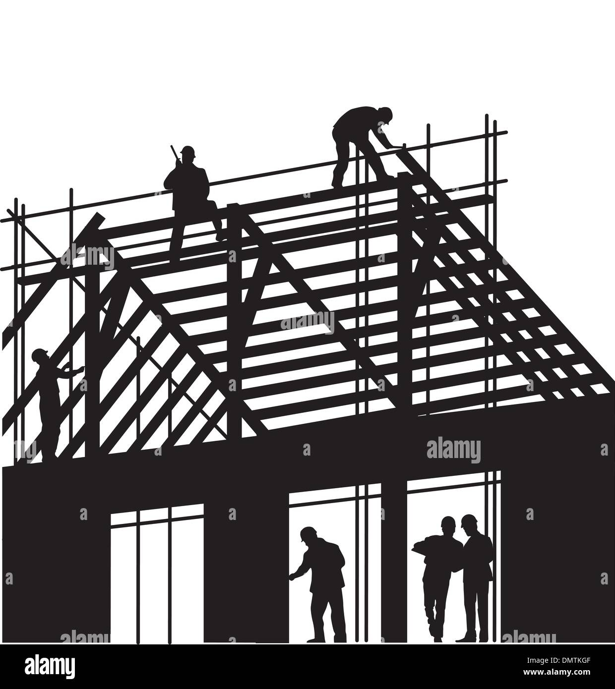Roofers and Carpenter - Stock Vector