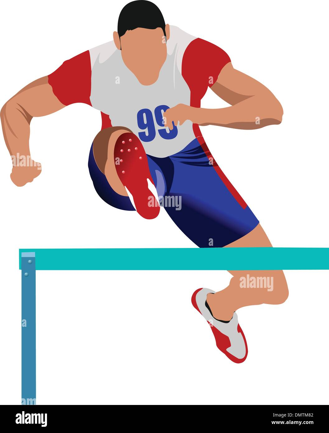 Athlete pole vaulting. . Track and field. Vector illustration. Stock Vector