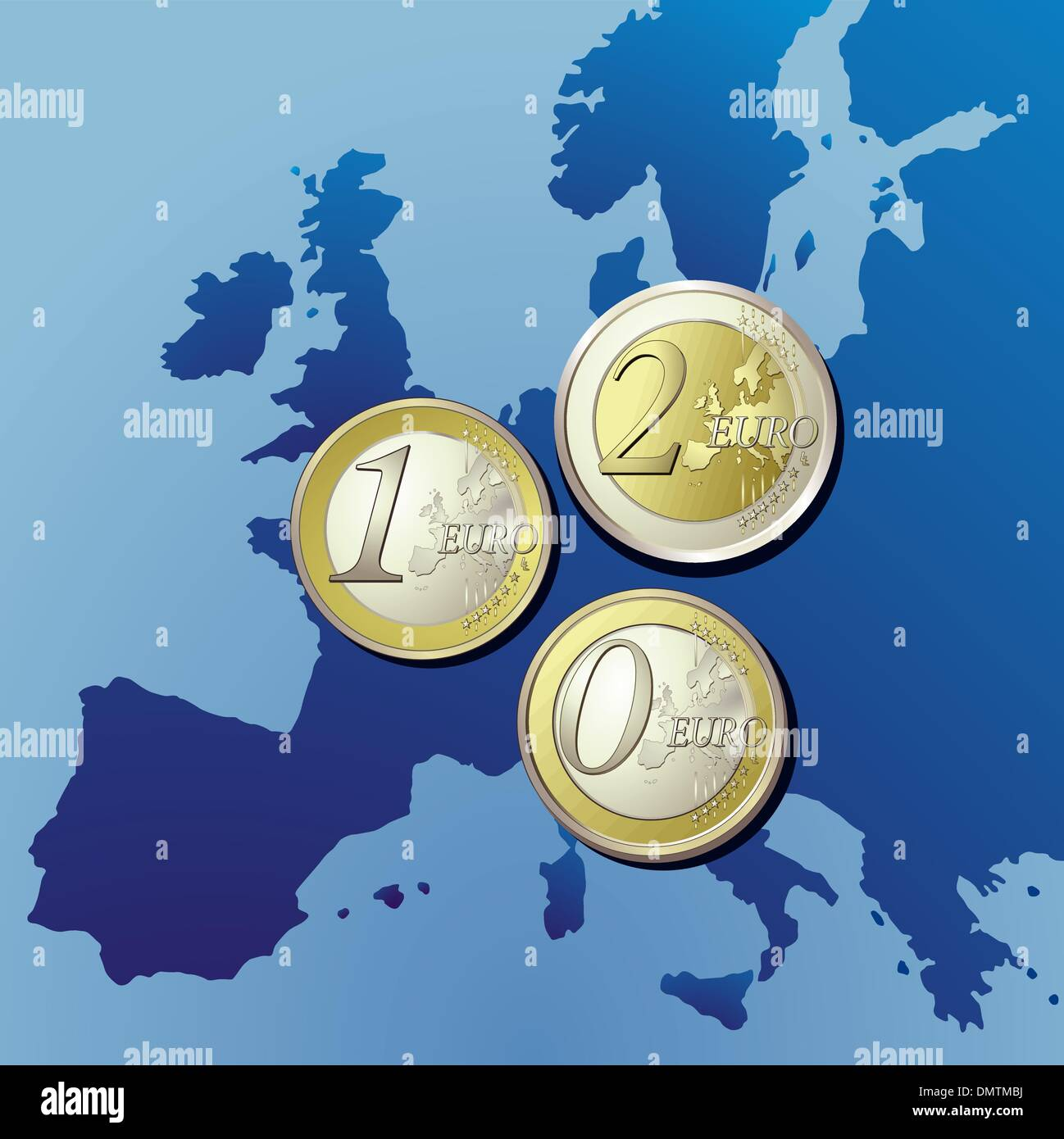 Euro zone with Europe map - Stock Vector
