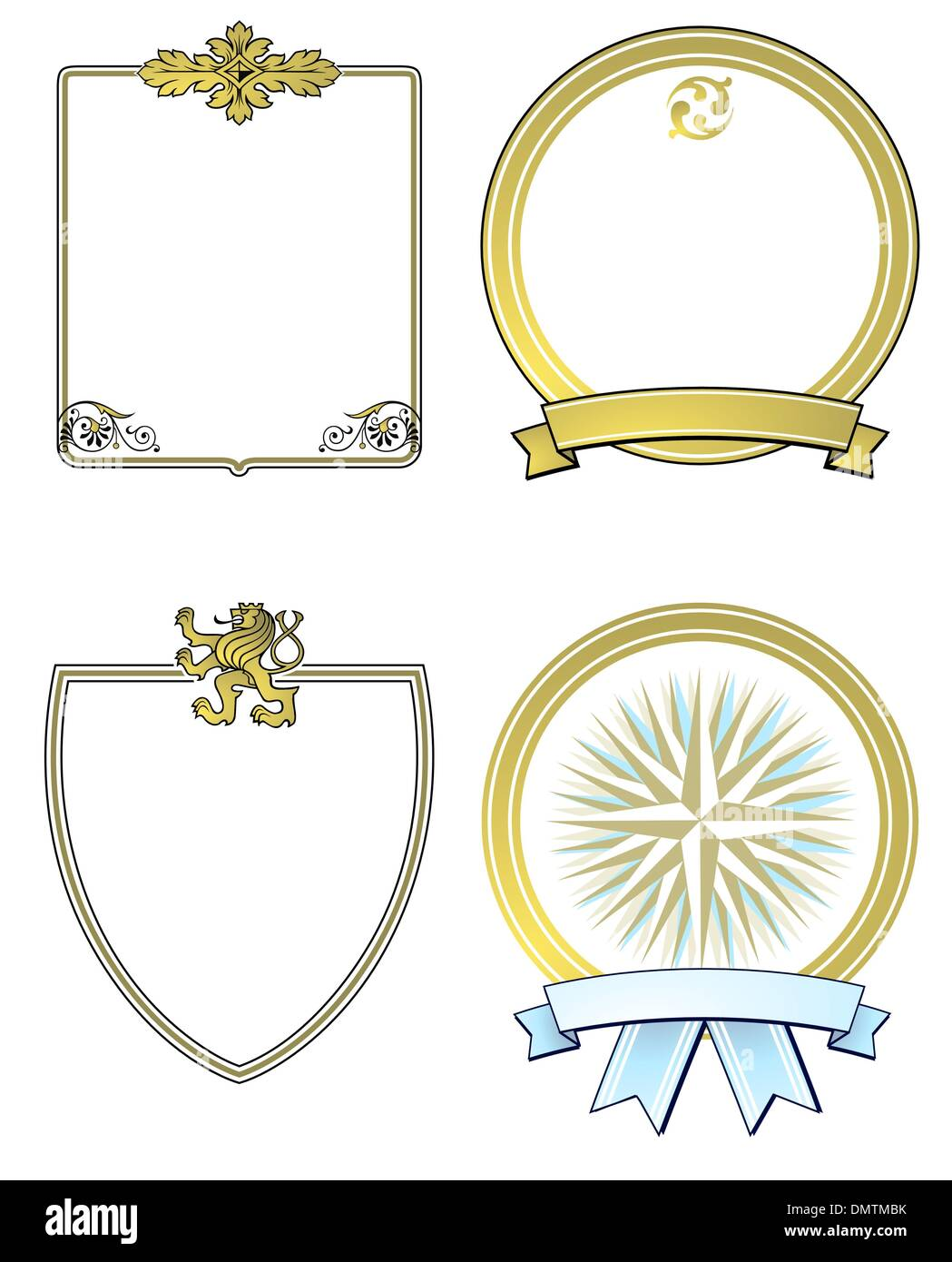 label and aristocratic shields, gold - Stock Image