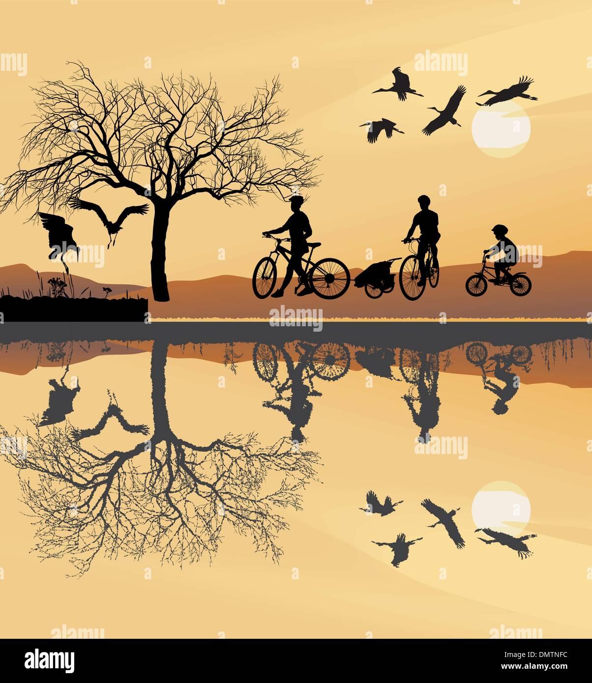 Family Trip to bike - Stock Vector