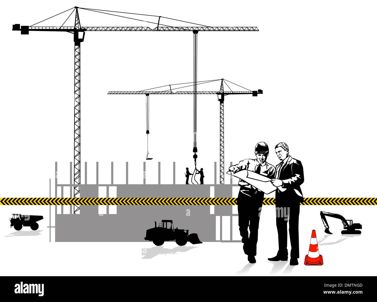 Architect and construction - Stock Vector
