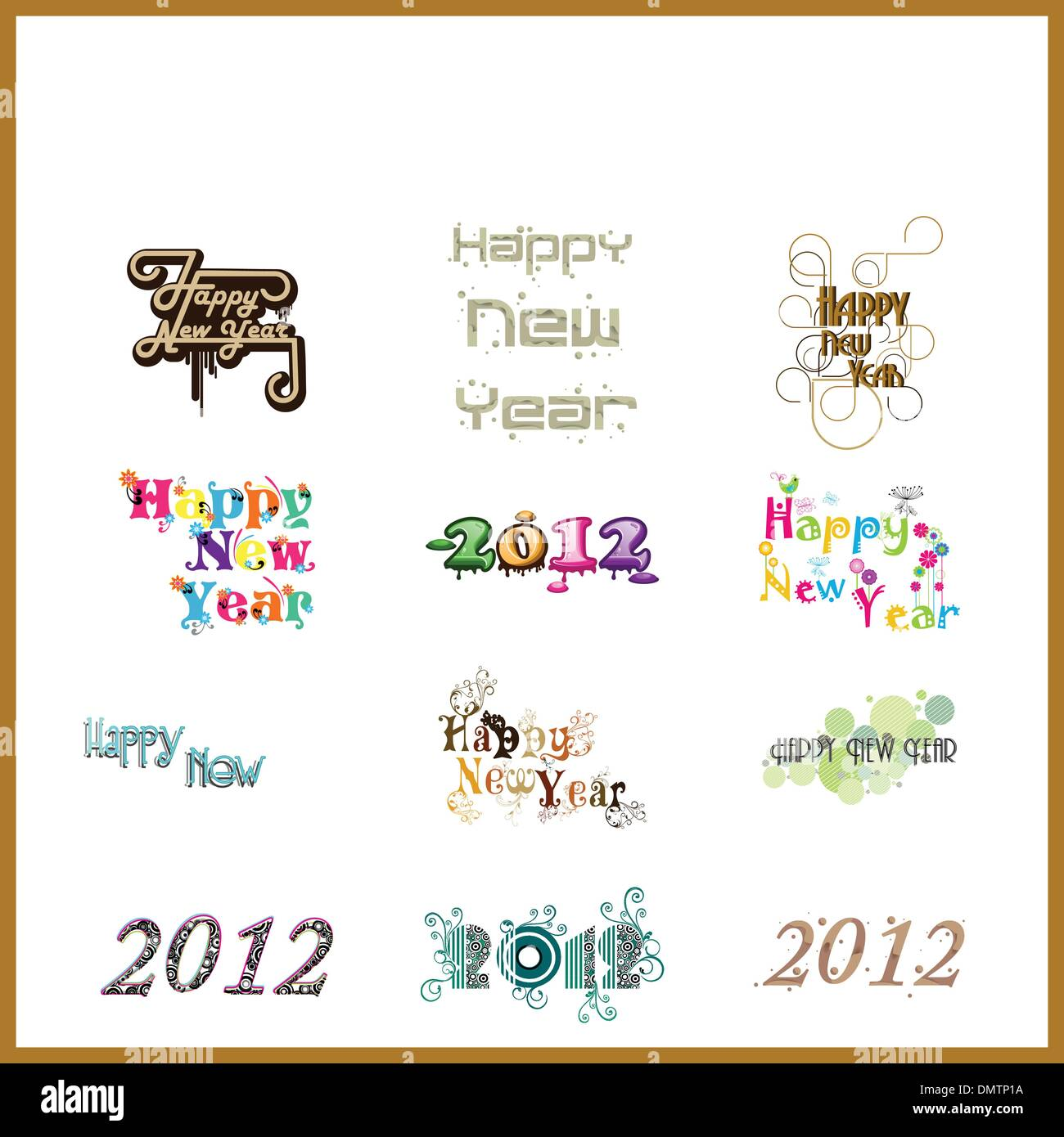 typographic set of twelve  funky styles text for happy new year. - Stock Image