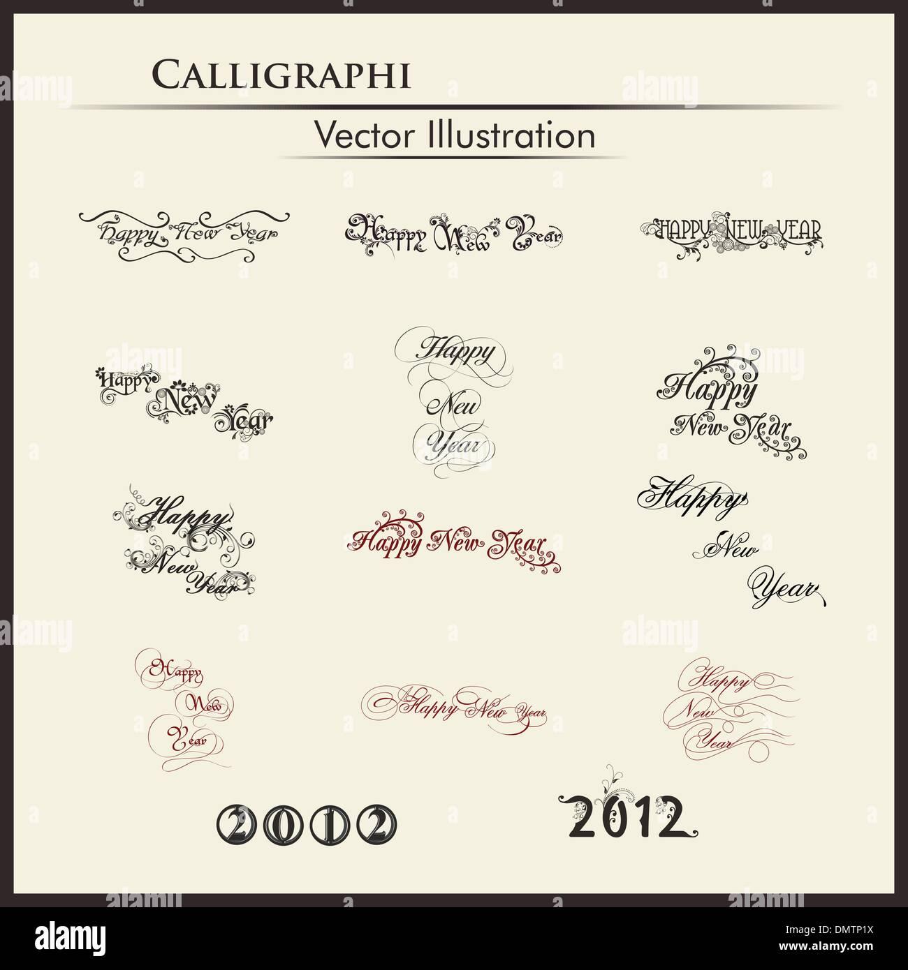 typographic set of twelve  styles text for happy new year. - Stock Image