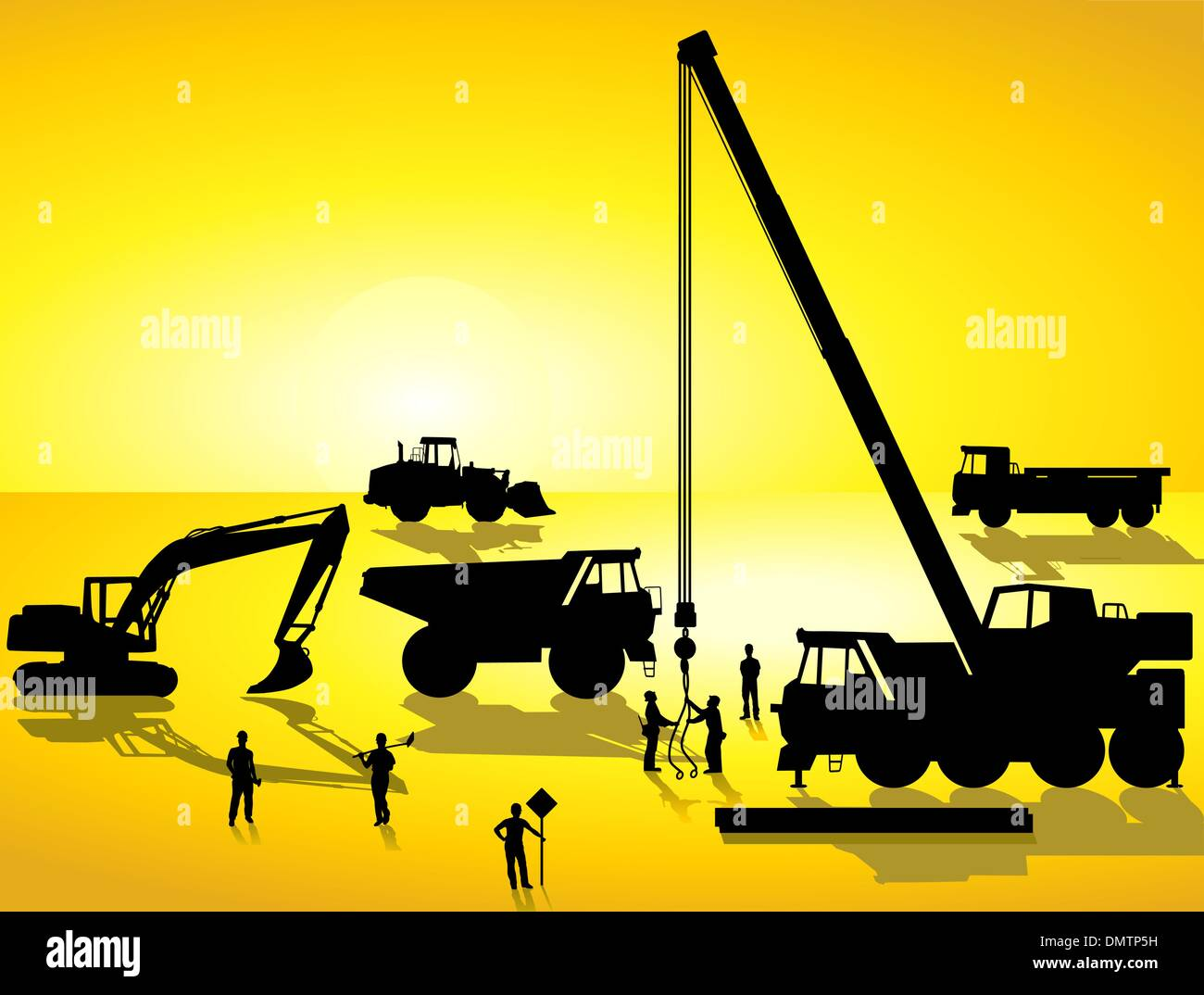 construction site at sunrise - Stock Vector