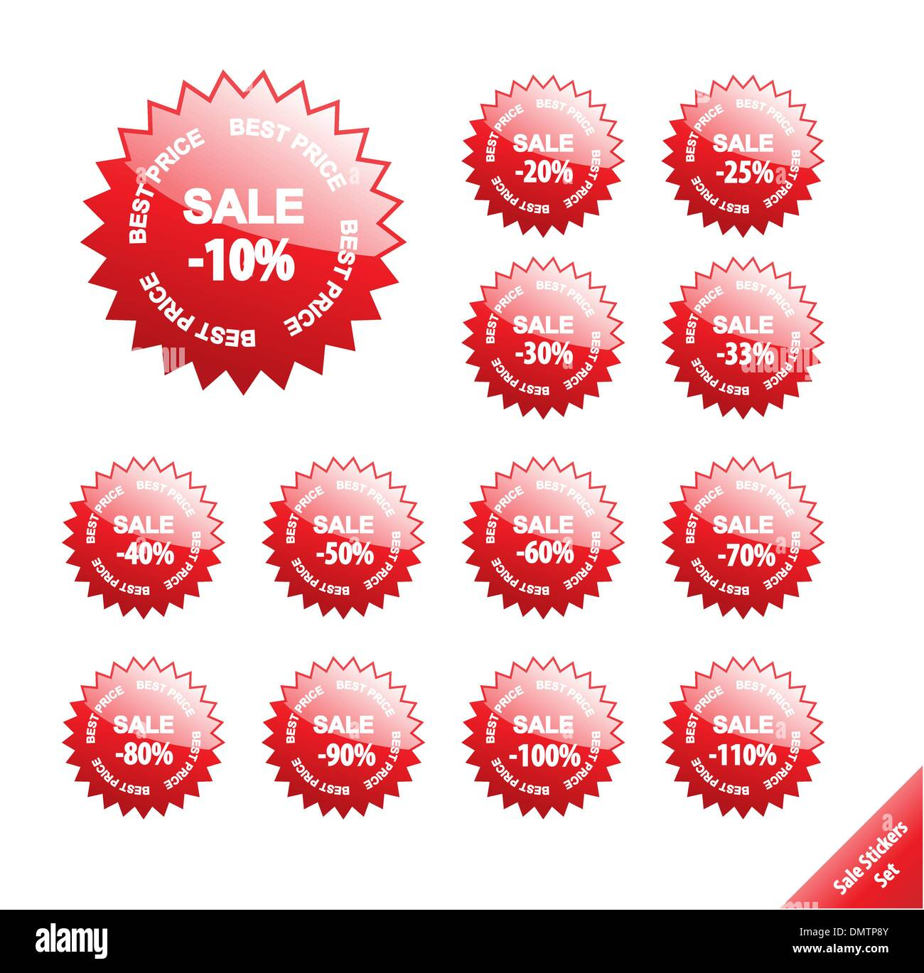 Collection of glossy marketing elements. Vector discount labels. - Stock Image