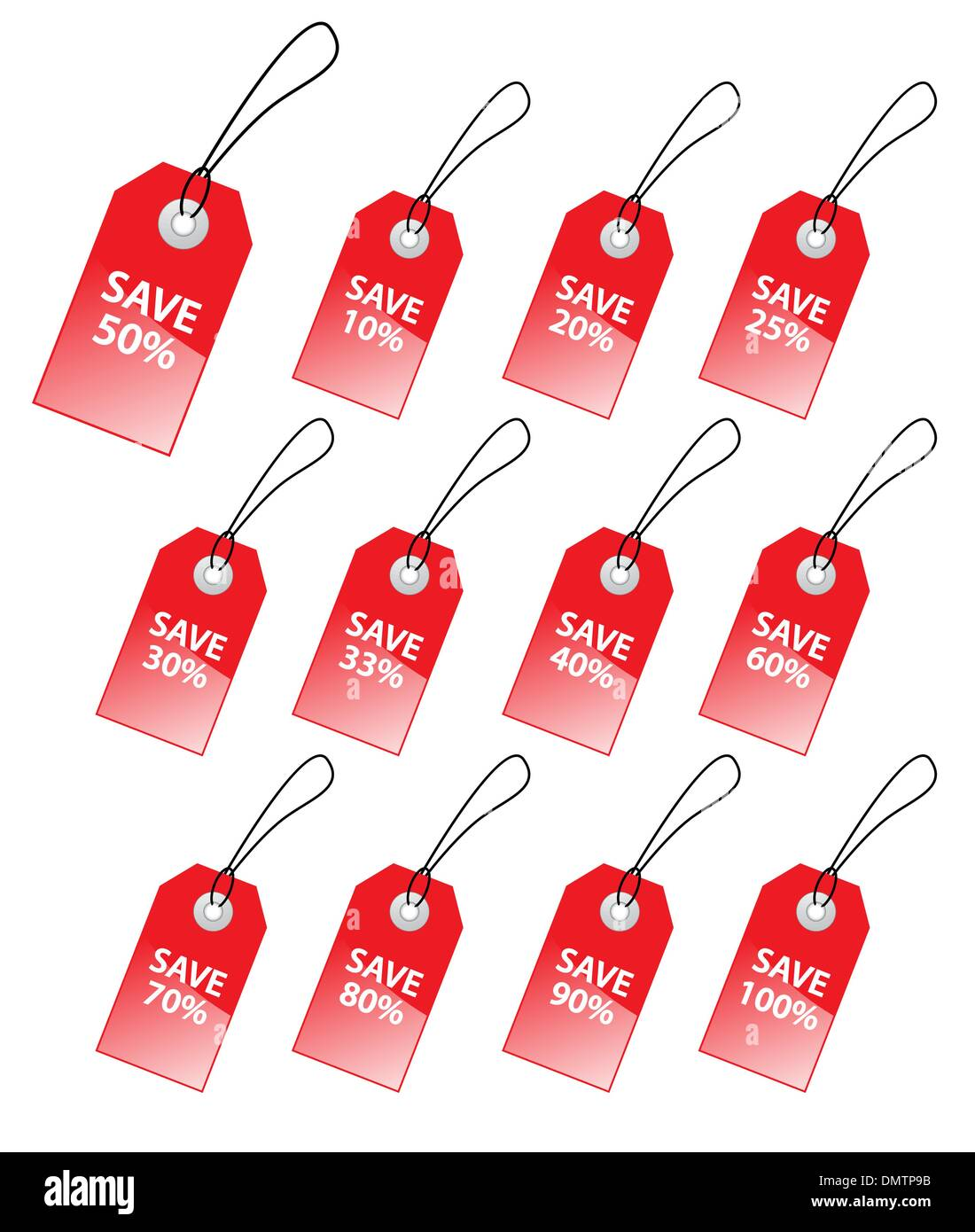Collection of vector tags with discount numbers for marketing sa - Stock Vector