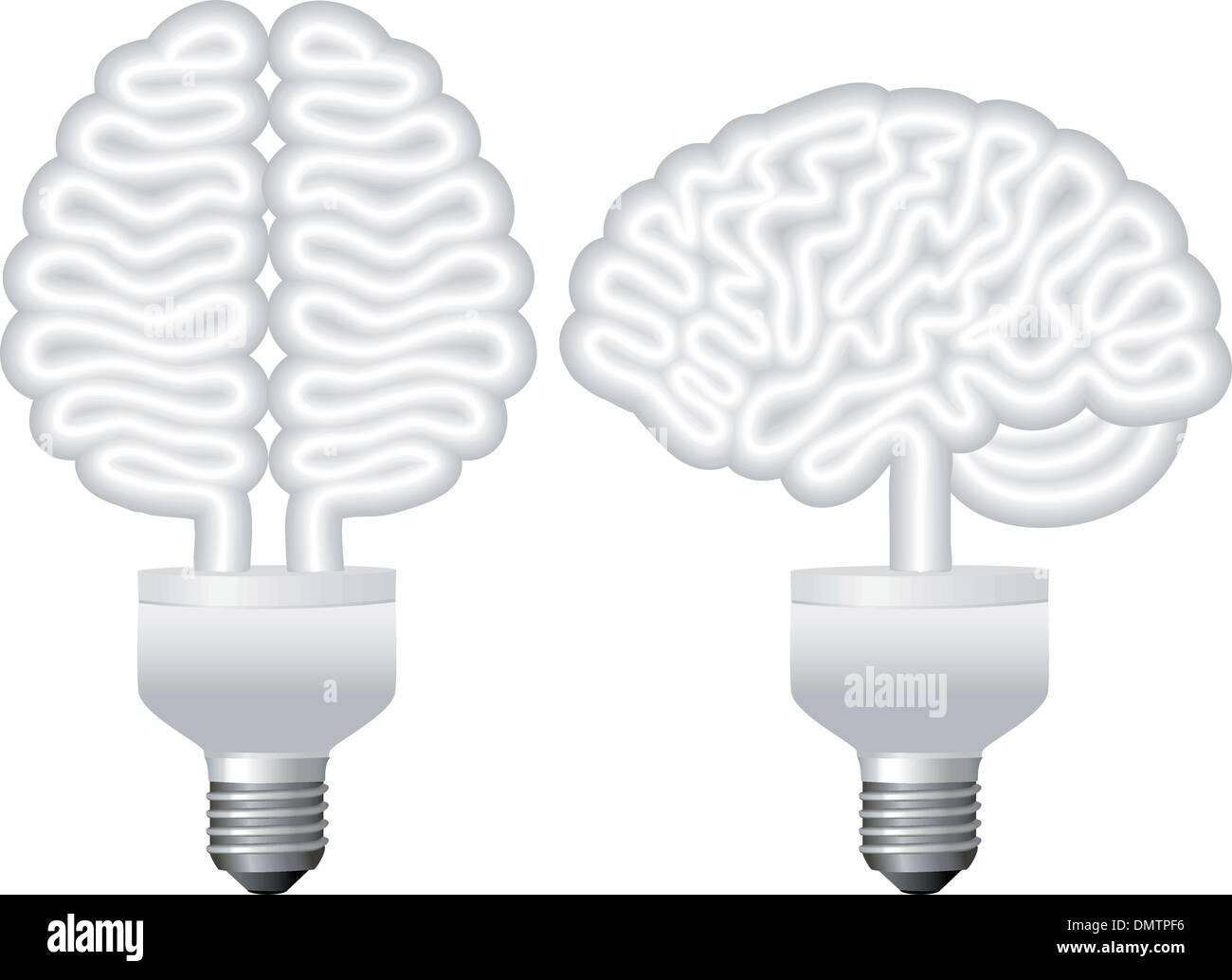 eco bulb brain, vector - Stock Image