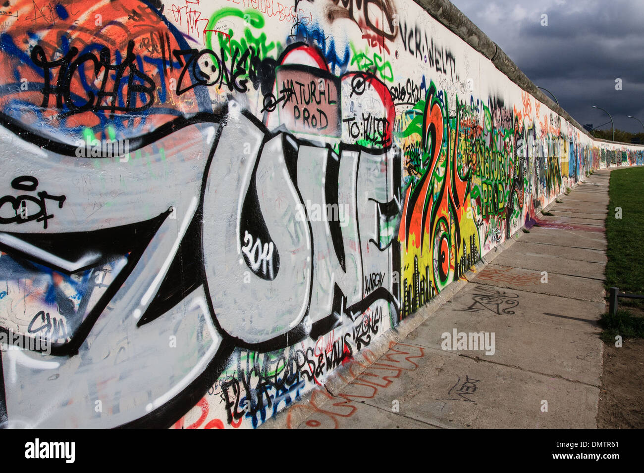East Side Gallery section of the Berlin Wall - Stock Image