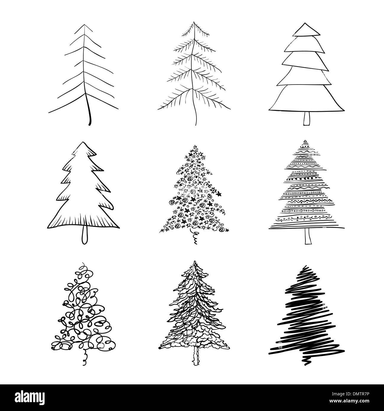 Christmas tree silhouette, set of illustrations. Vector, EPS8. Stock Vector