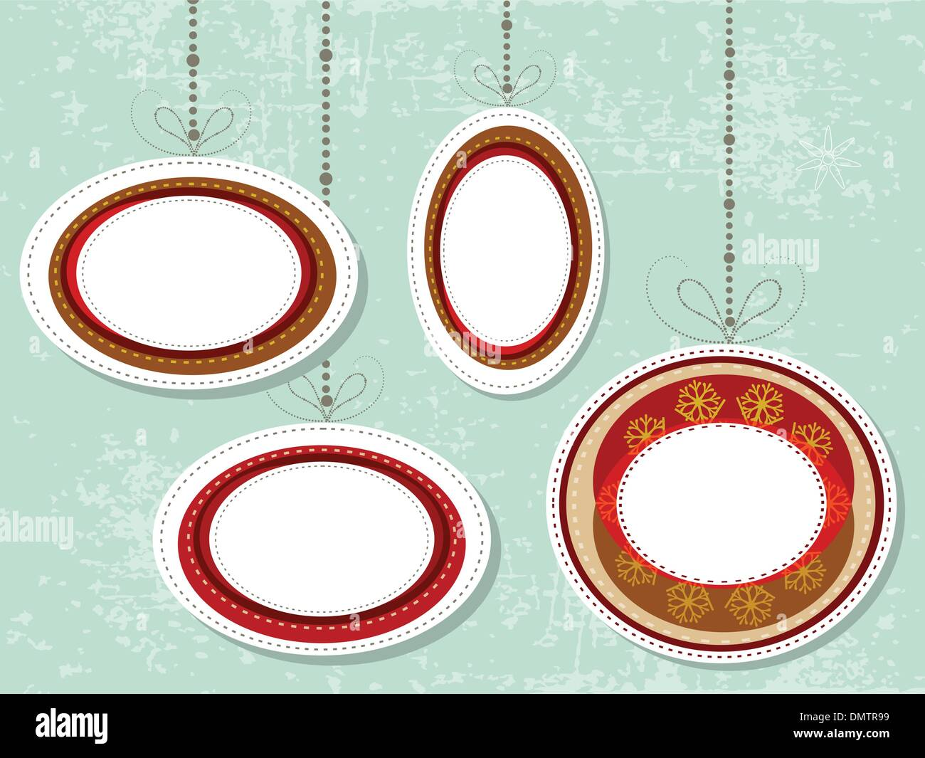 Christmas hanging ornaments for text.vector - Stock Image