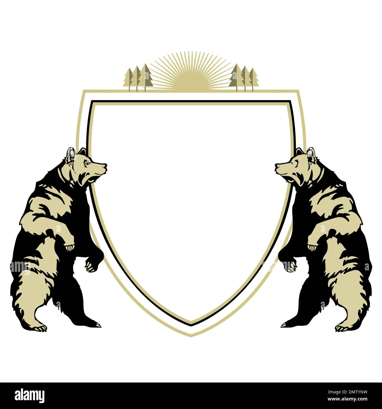 heraldic animal bear - Stock Image
