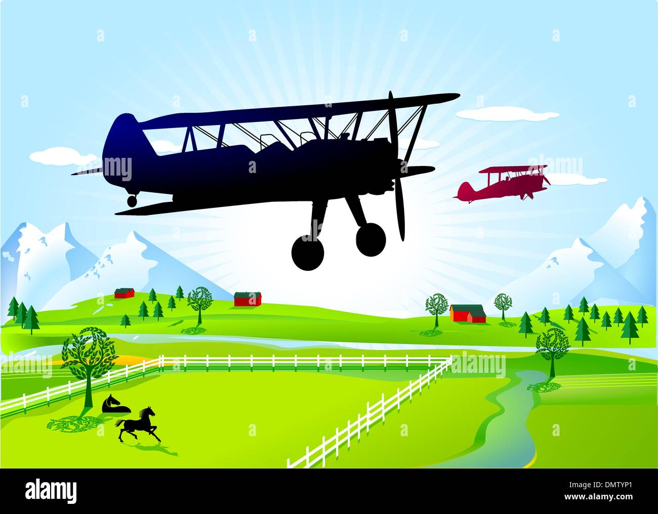biplane - Stock Image