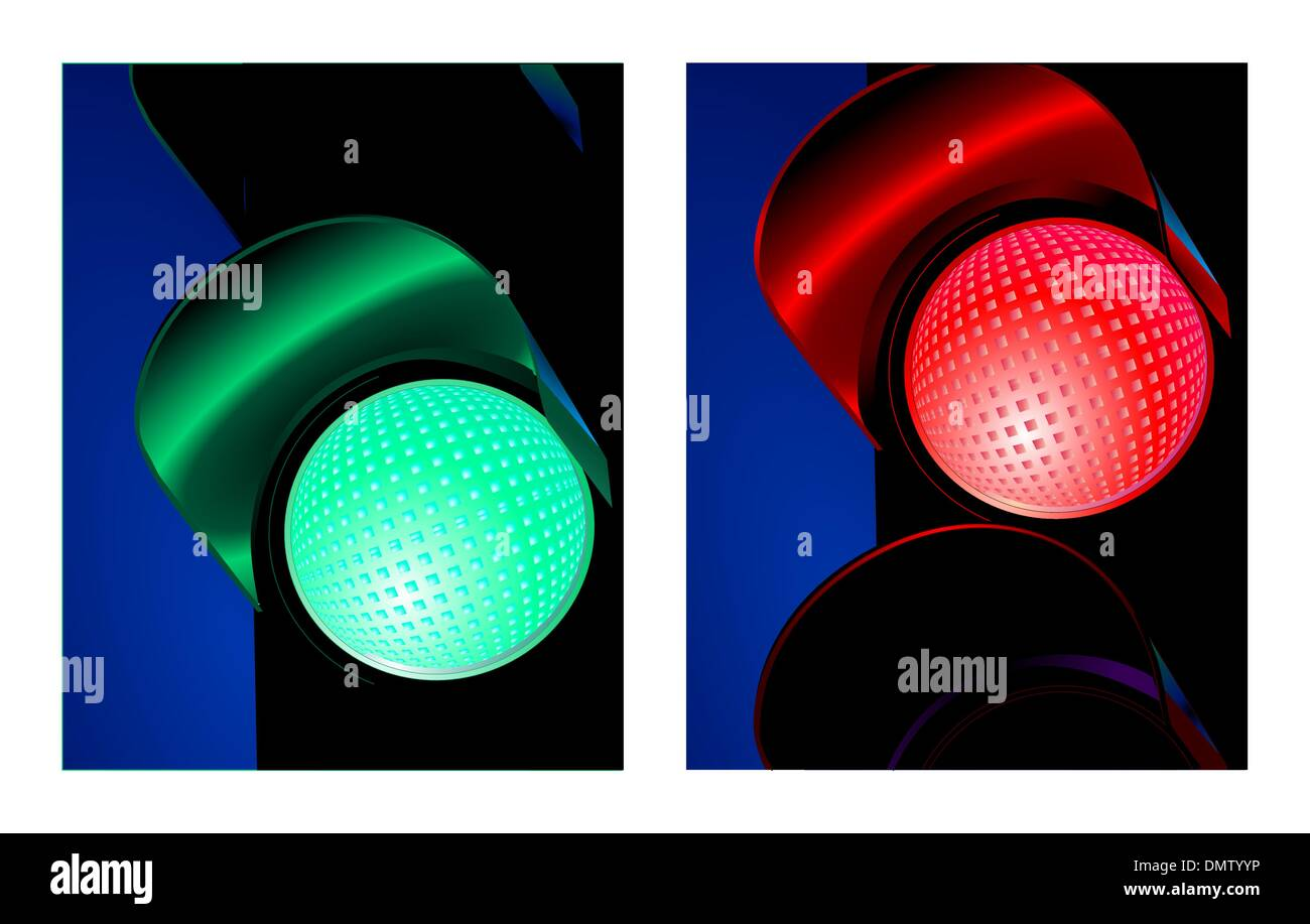 traffic control signal red and green Stock Vector