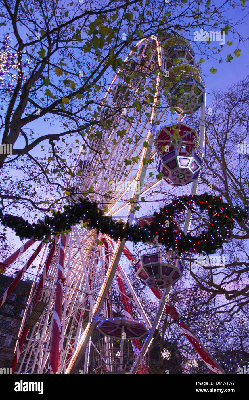 The ferris wheel at the Christmas market, Leicester Square, London, England - Stock Image