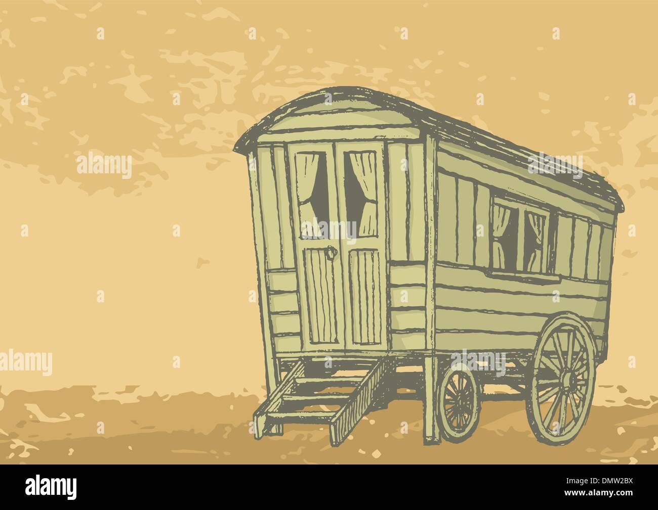 Gypsy caravan wagon - Stock Vector