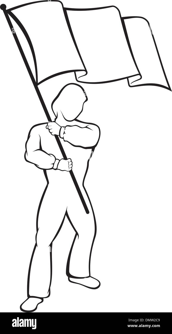 Man with flag - Stock Image
