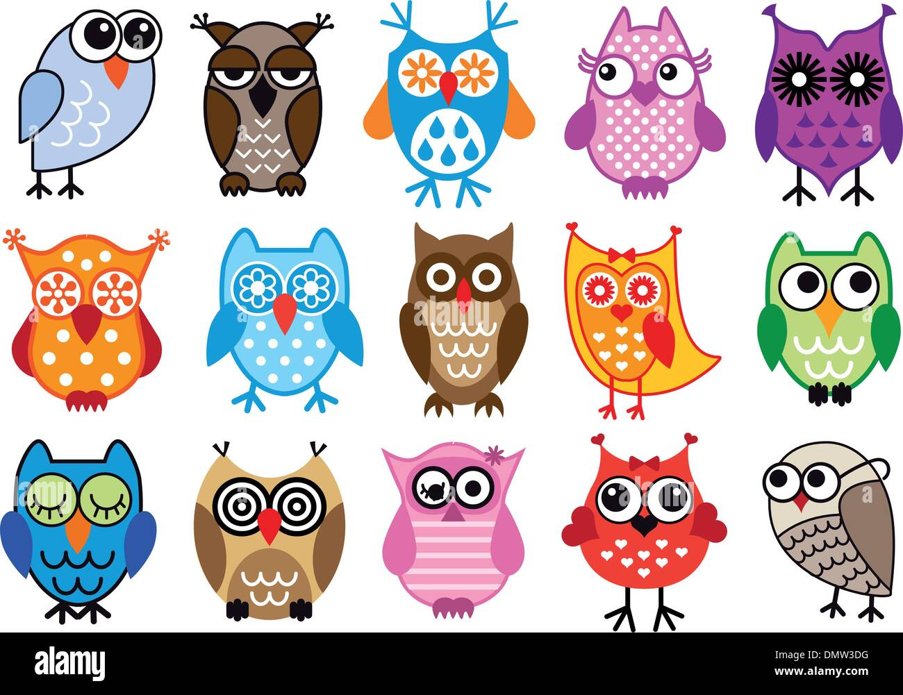 vector owls - Stock Image