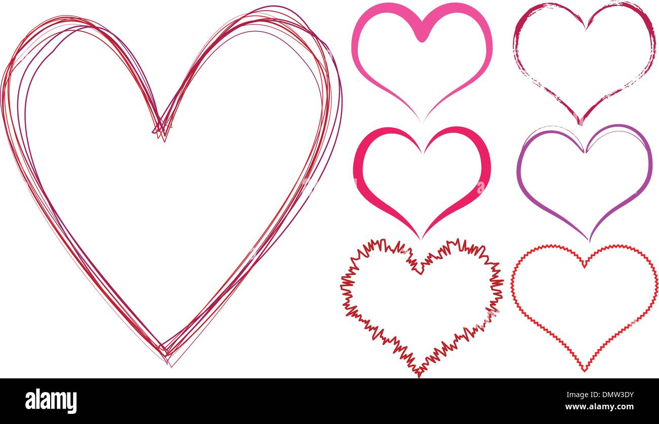 scribble hearts - Stock Image