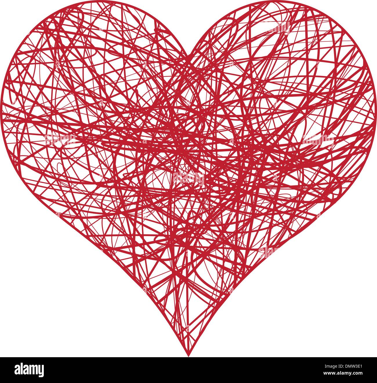 red scribble heart - Stock Image