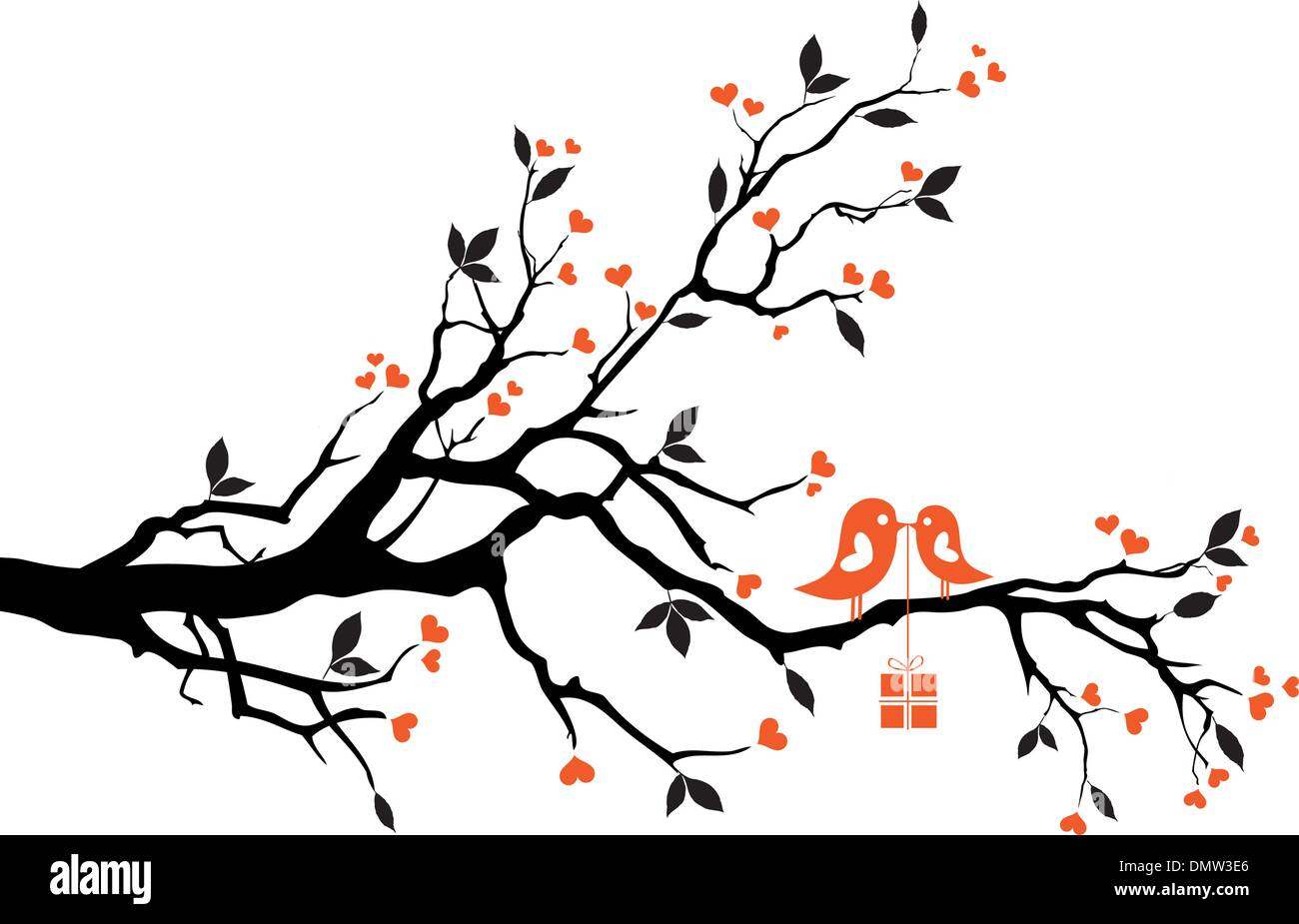 love bird with gift box, vector - Stock Image