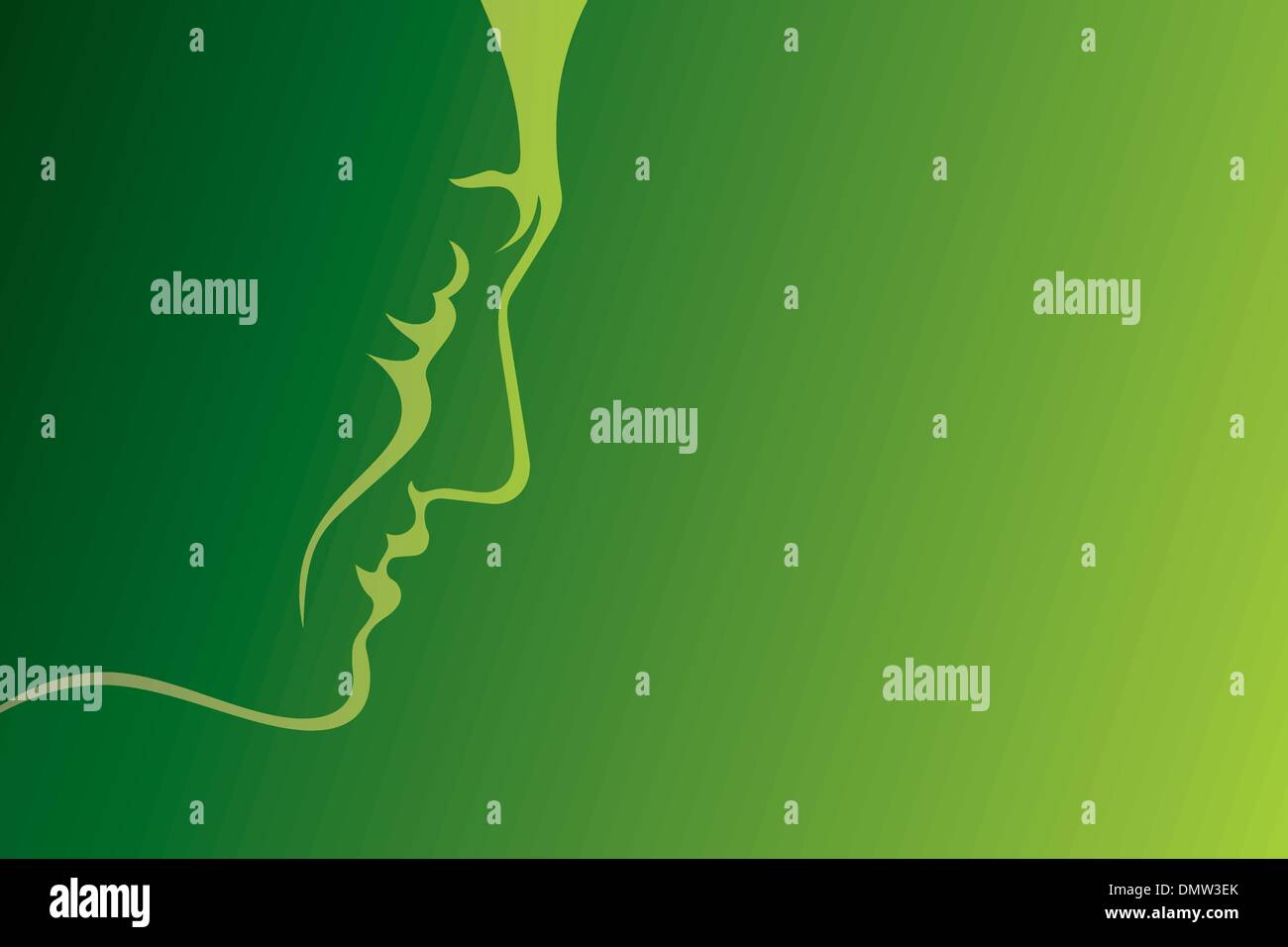 Man profile green - Stock Vector