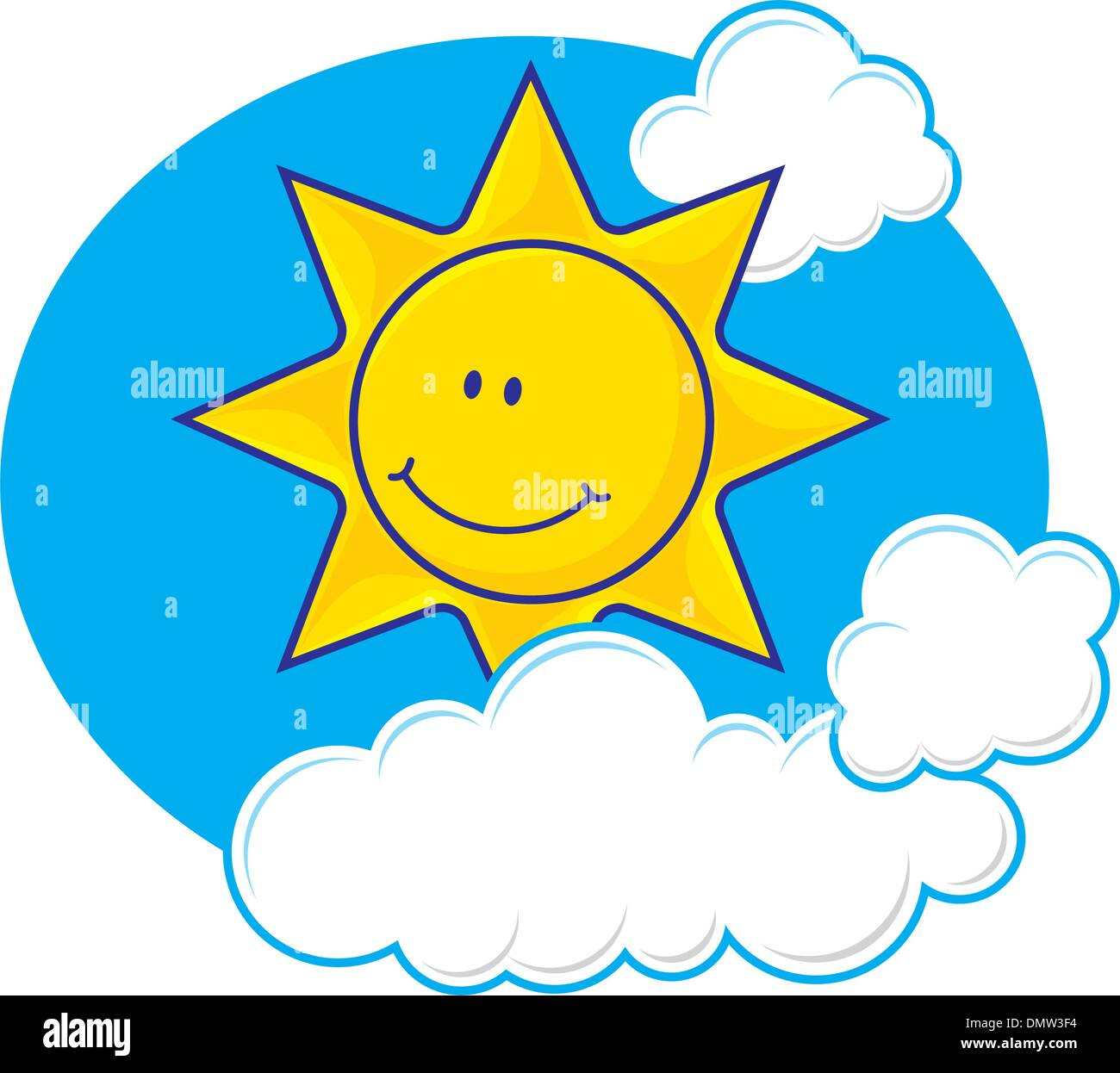 Sun with clouds vector - Stock Image