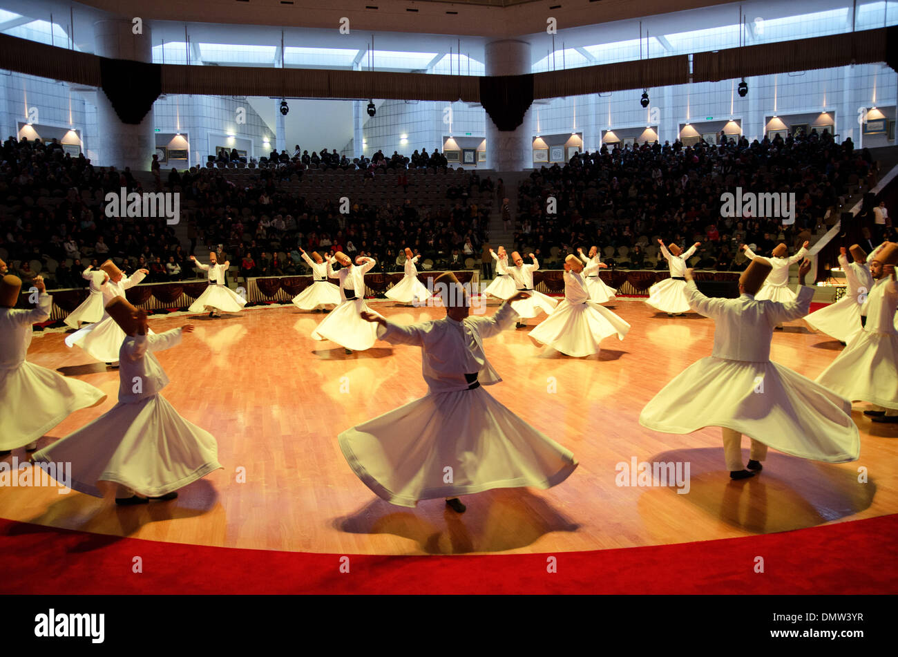 Konya, Turkey. 16th December 2013. The 740th anniversary of the death of the Sufi mystic Mevlana Jalaladdin Rumi was commemorated in Konya by the world renown dancers The Whirling Dervishes. Is celebrated between December 7- 17 Credit:  Oleksandr Rupeta/Alamy Live News - Stock Image