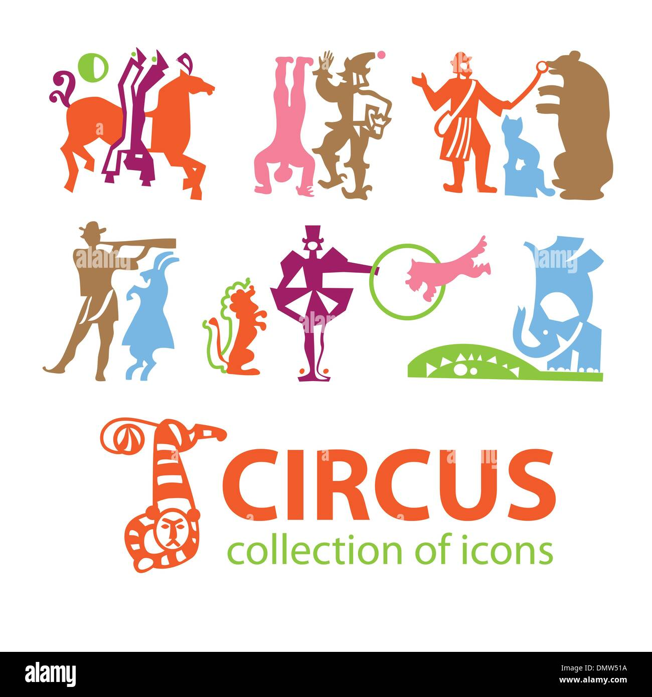 Circus-collection-icons - Stock Image