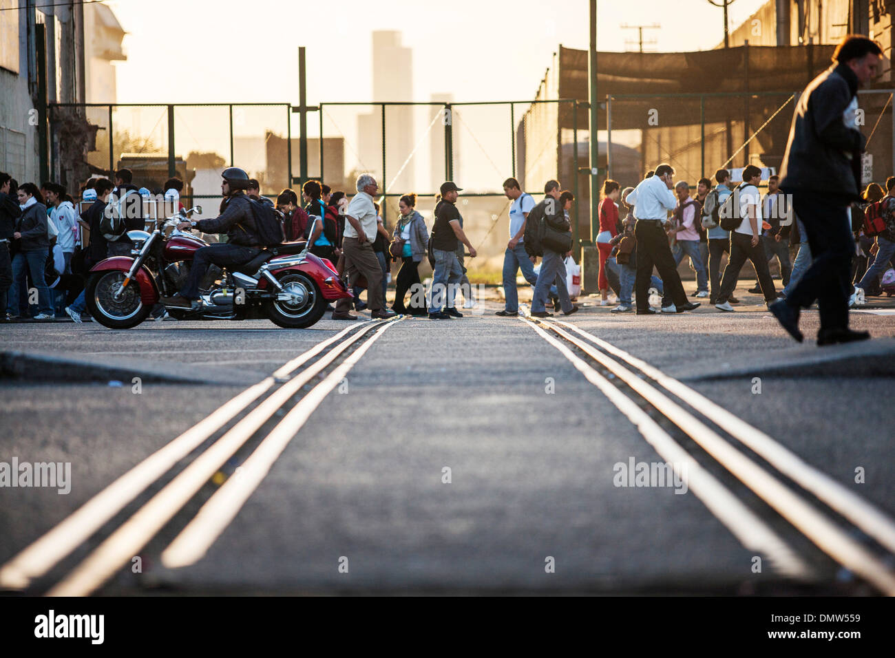 Rush hour in Buenos Aires, at the station Av Dr Jose Maria Ramos Mejia, Buenos Aires, Buenos Aires Province, Argentina - Stock Image