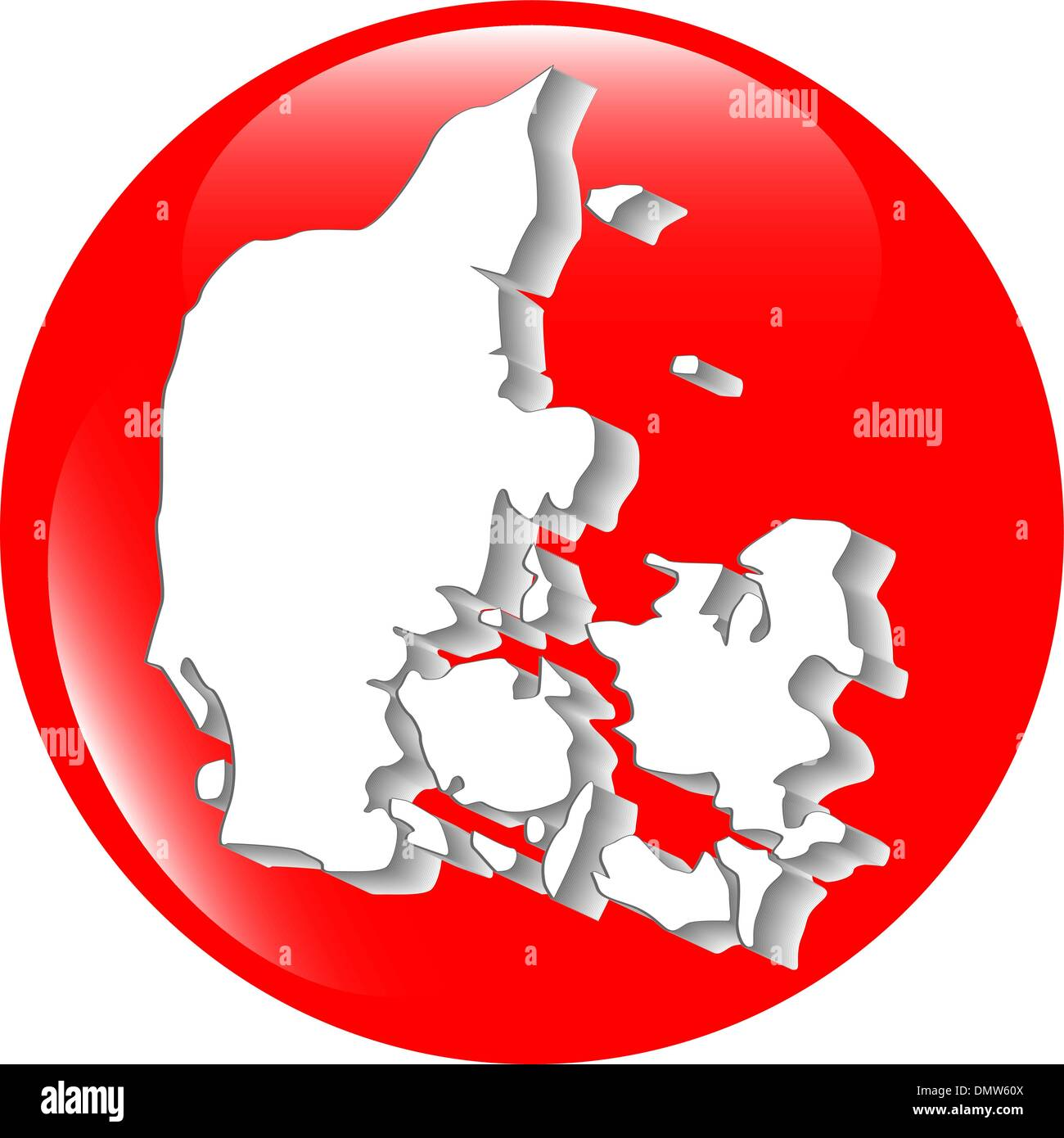 map of Denmark filled with flag of the state Stock Vector