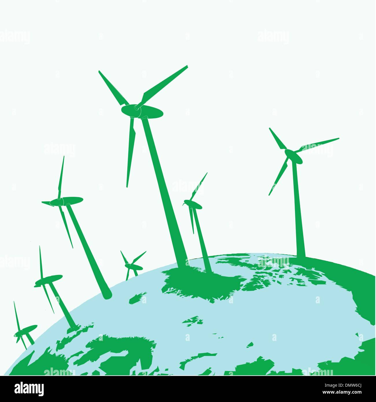 eco wind mills on green earth - Stock Vector