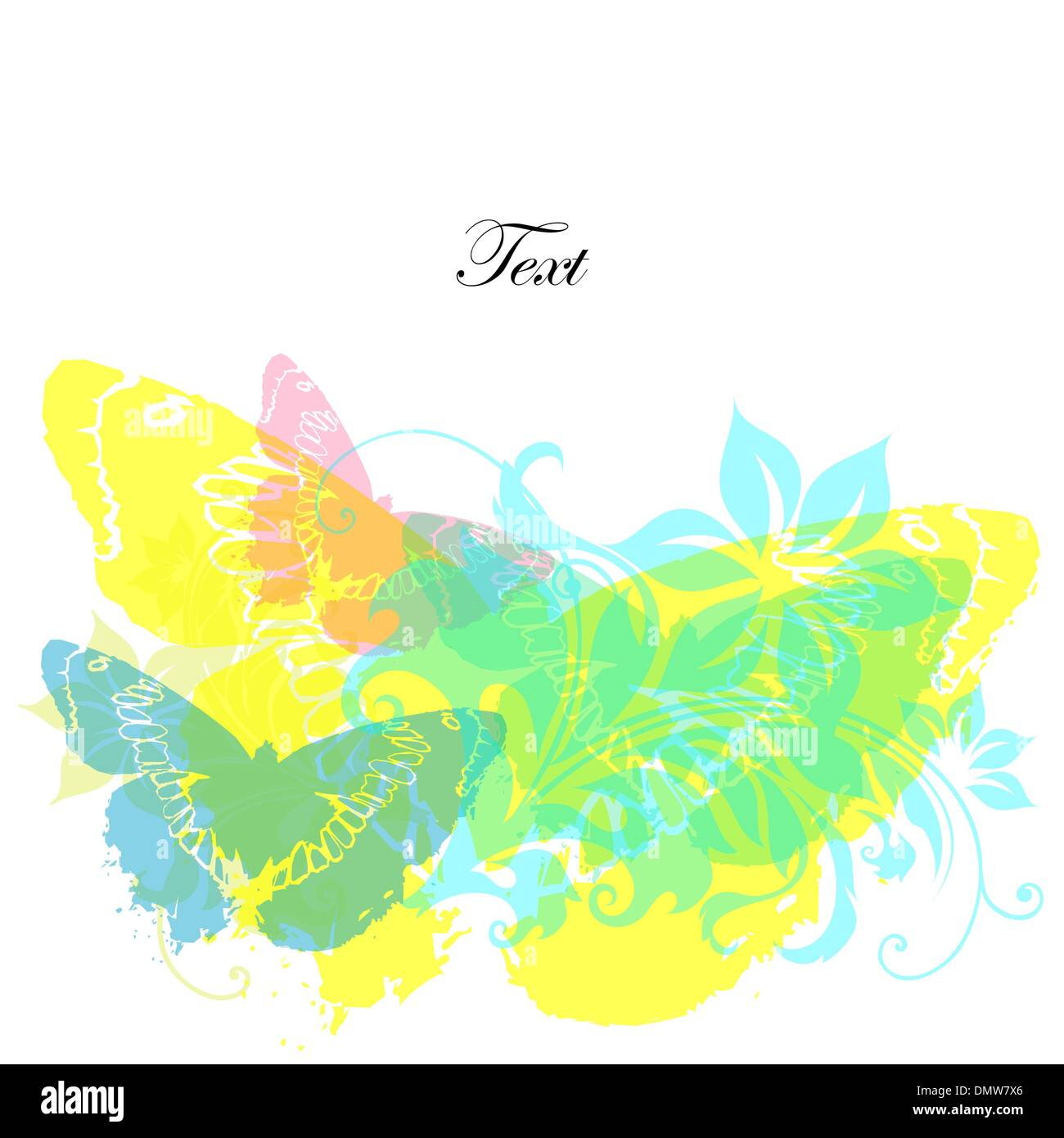 card with butterflies and flowers Stock Vector