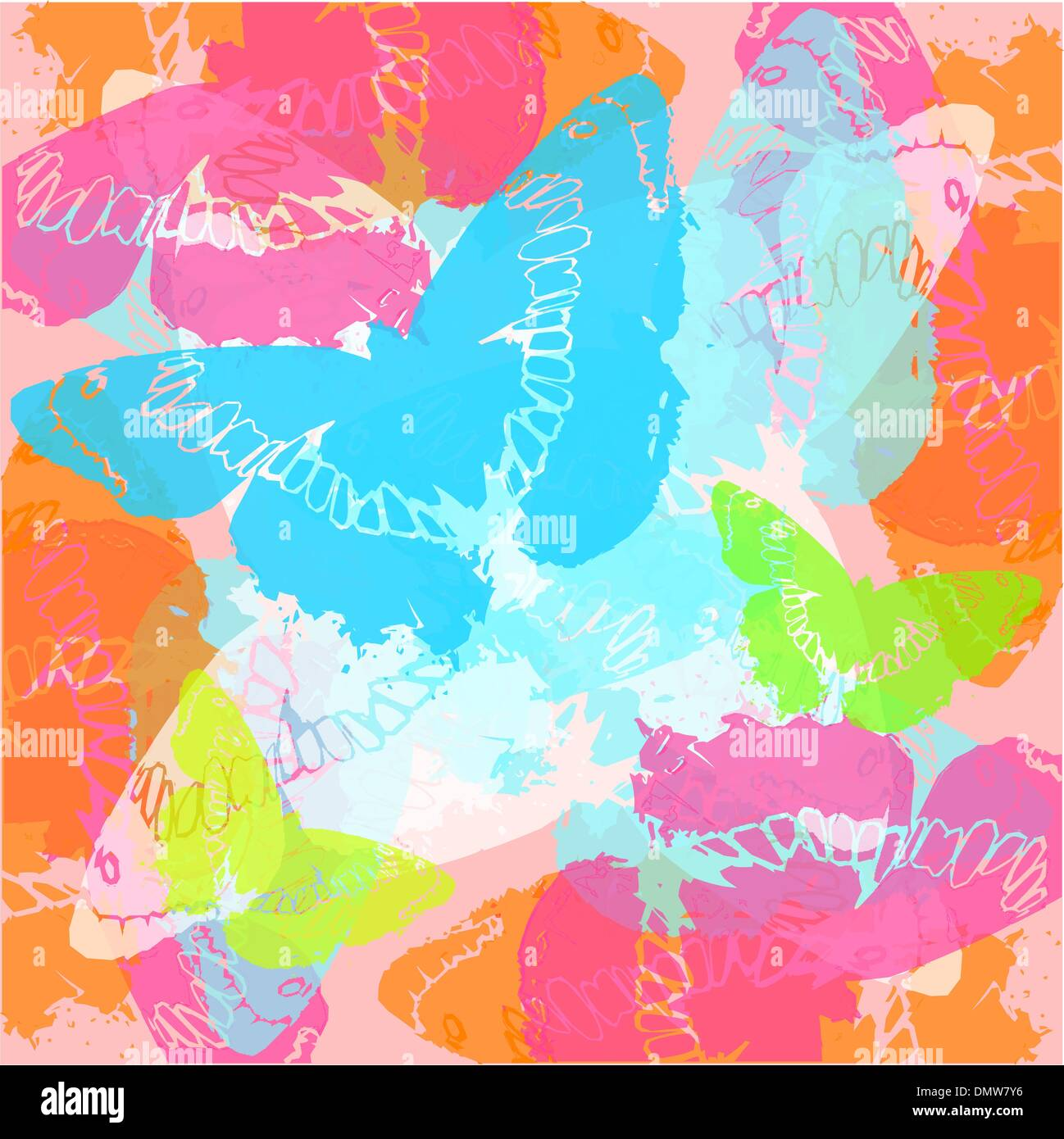 background with stylised butterflies - Stock Vector