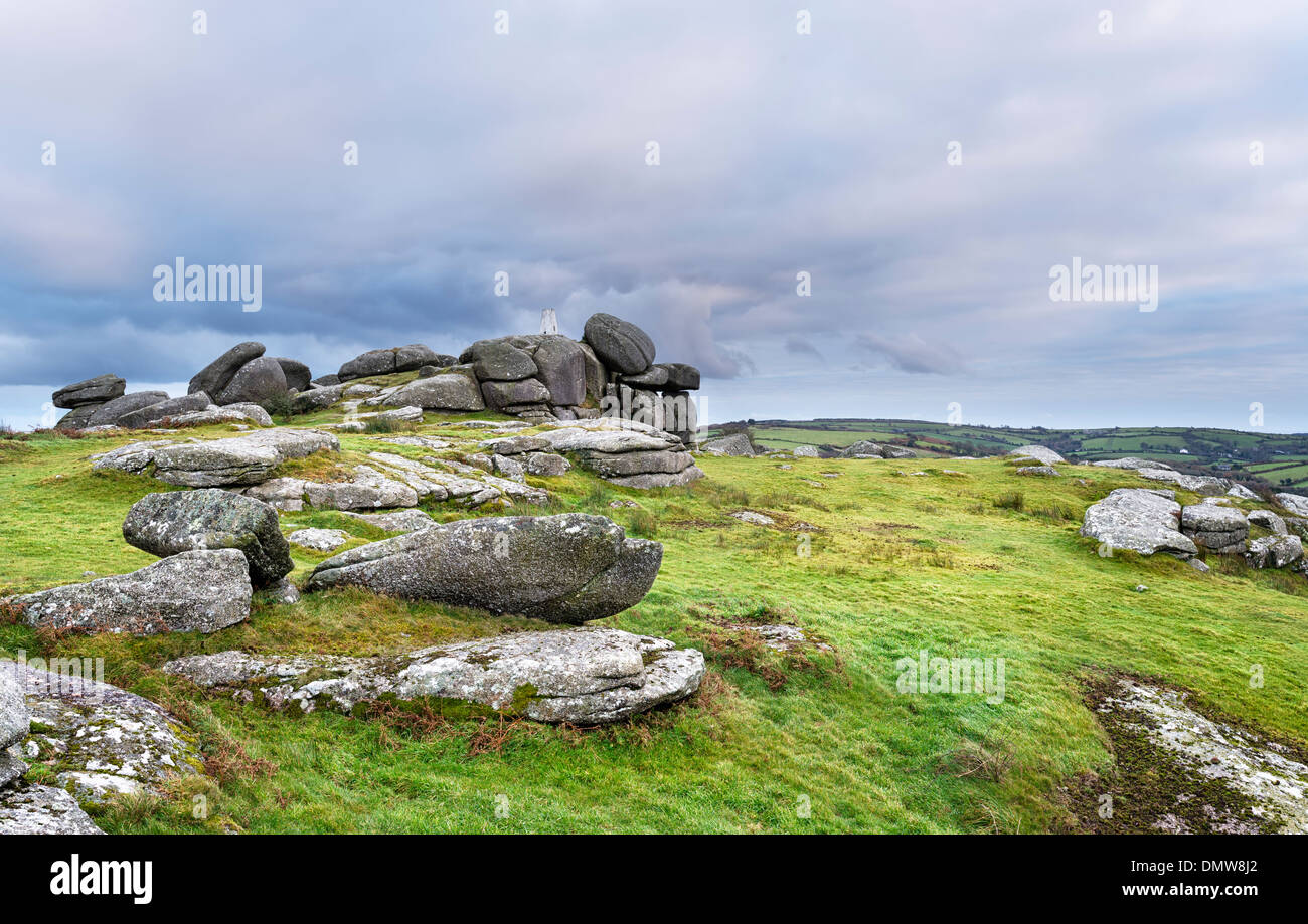 Storm clouds gather over Helman Tor near Bodmin in Cornwall - Stock Image